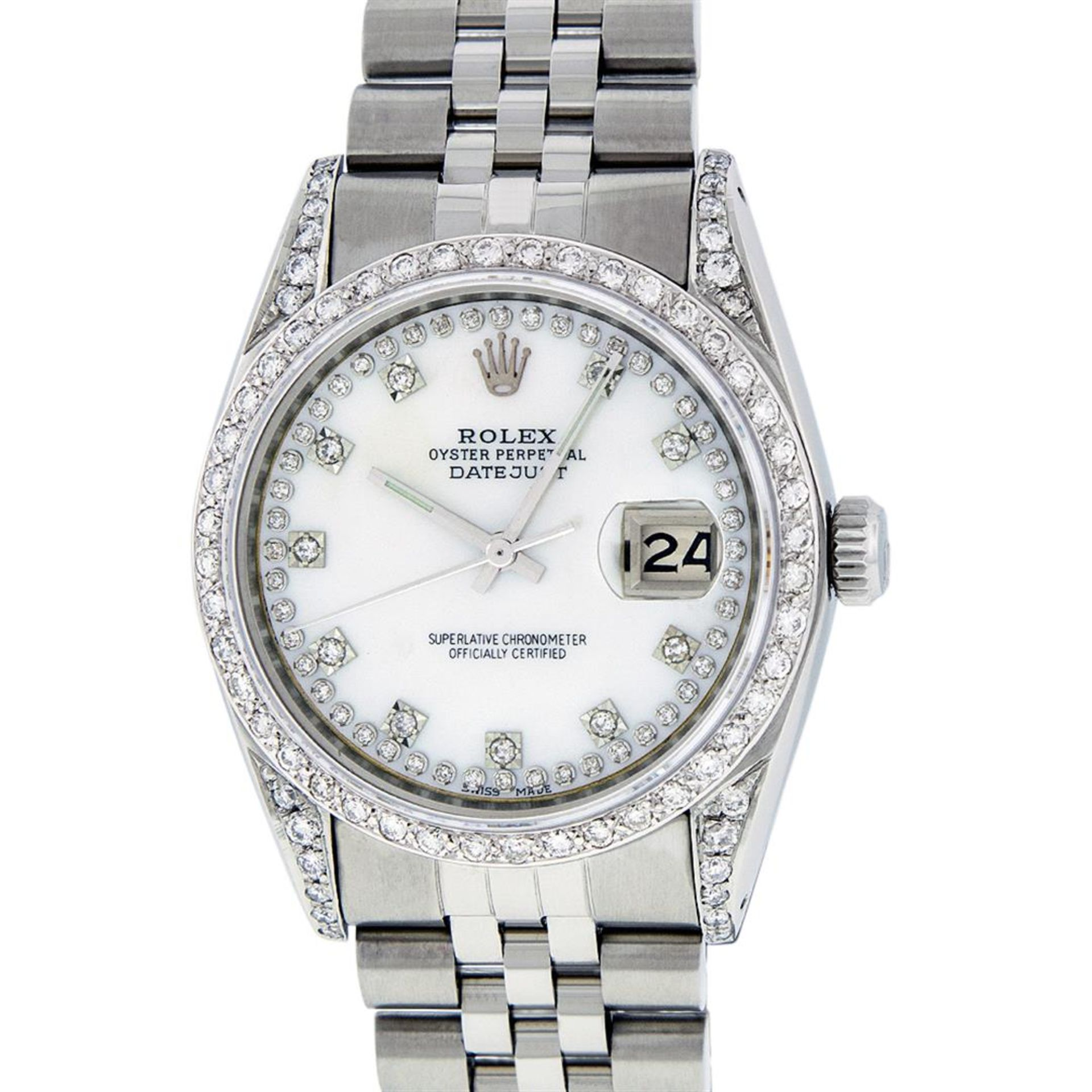 Rolex Mens Stainless Steel Mother Of Pearl Diamond Lugs Datejust Wristwatch - Image 3 of 9