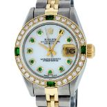 Rolex Ladies 2 Tone Mother Of Pearl & Emerald 26MM Datejust Wristwatch