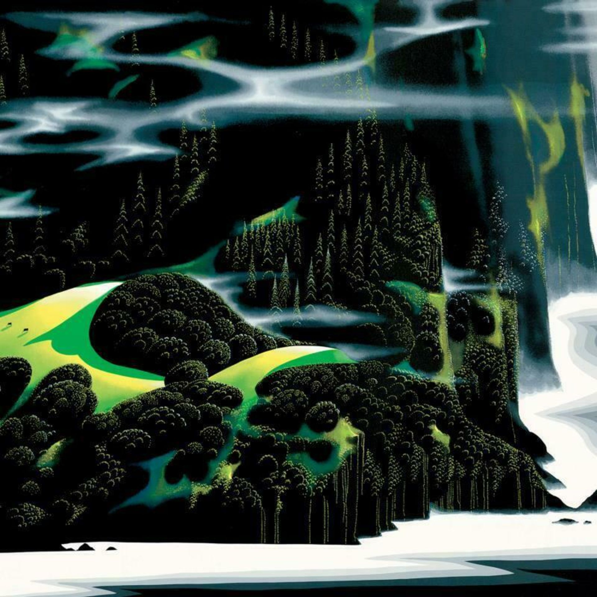 """Eyvind Earle (1916-2000), """"Haze Of Early Spring"""" Limited Edition Serigraph on Pa - Image 2 of 2"""