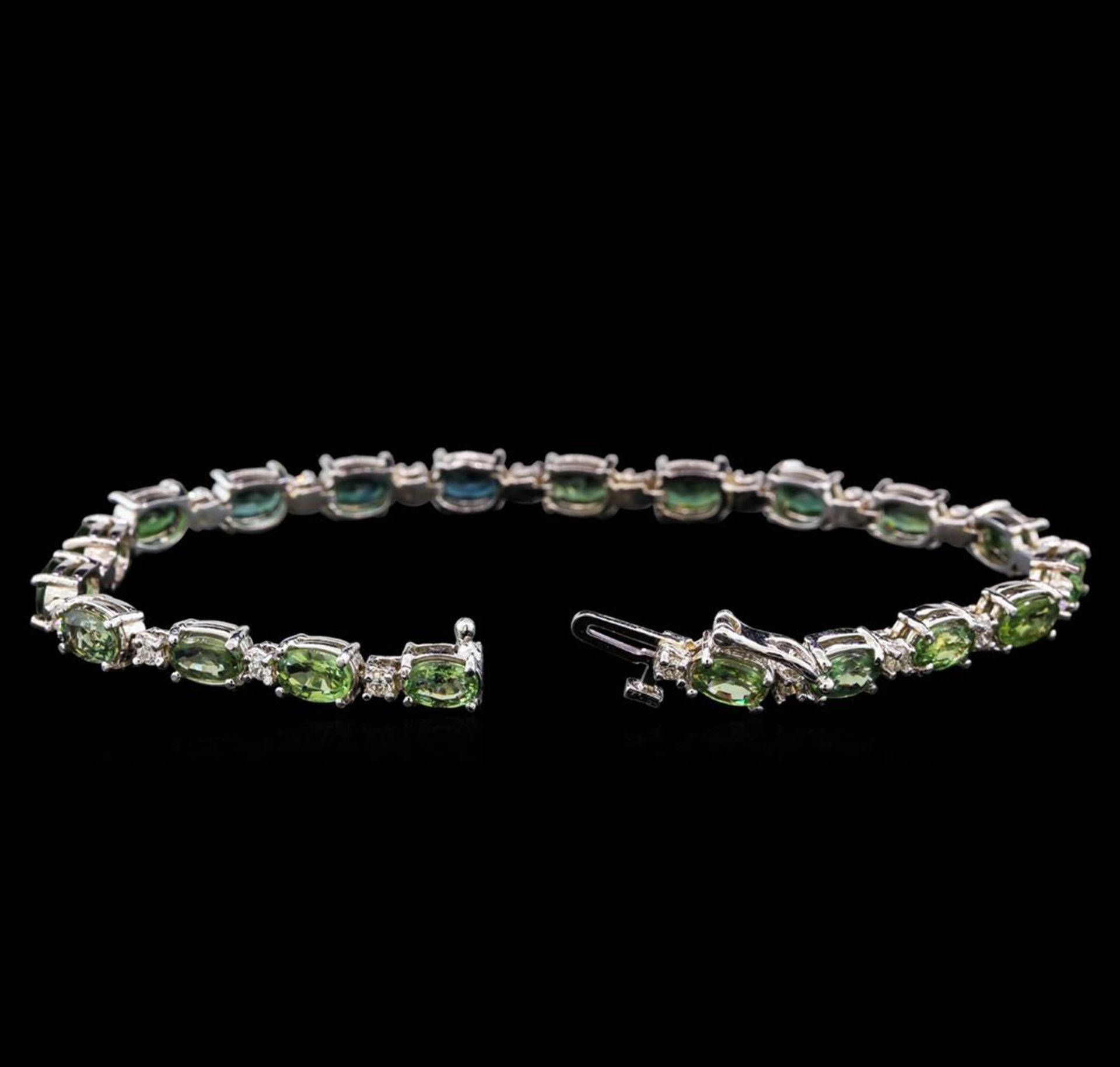 14KT White Gold 11.20 ctw Green Sapphire and Diamond Bracelet - Image 3 of 4