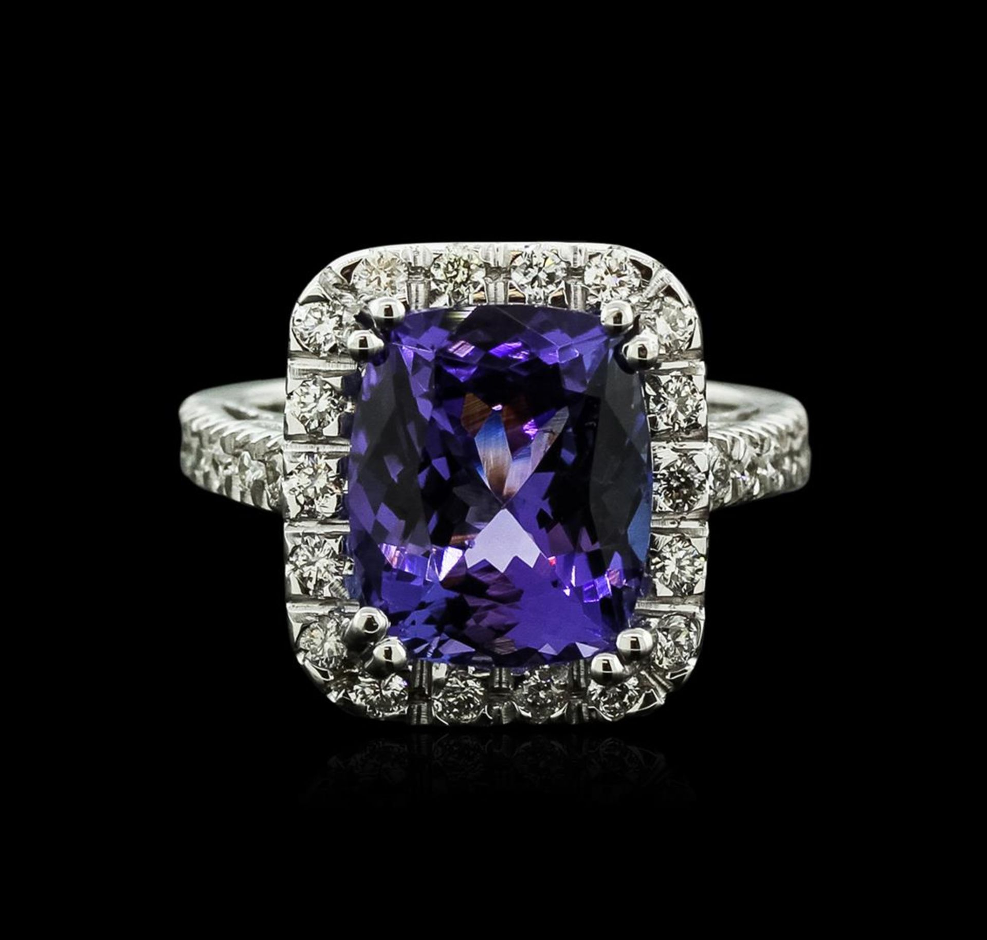 14KT White Gold 6.14 ctw Tanzanite and Diamond Ring - Image 2 of 4