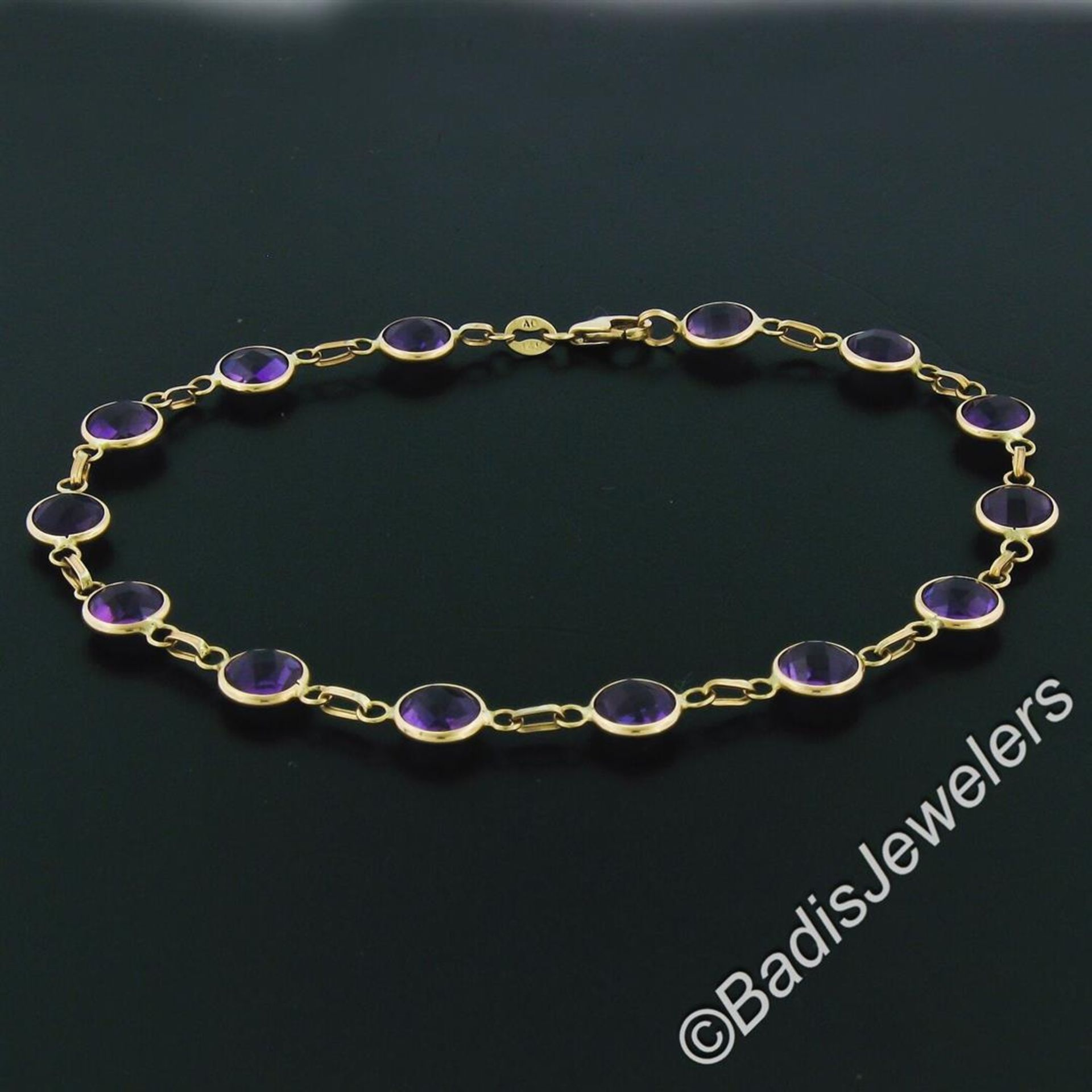 14kt Yellow Gold 10.50ctw Round Checkerboard Amethyst by the Yard Chain Bracelet - Image 3 of 5