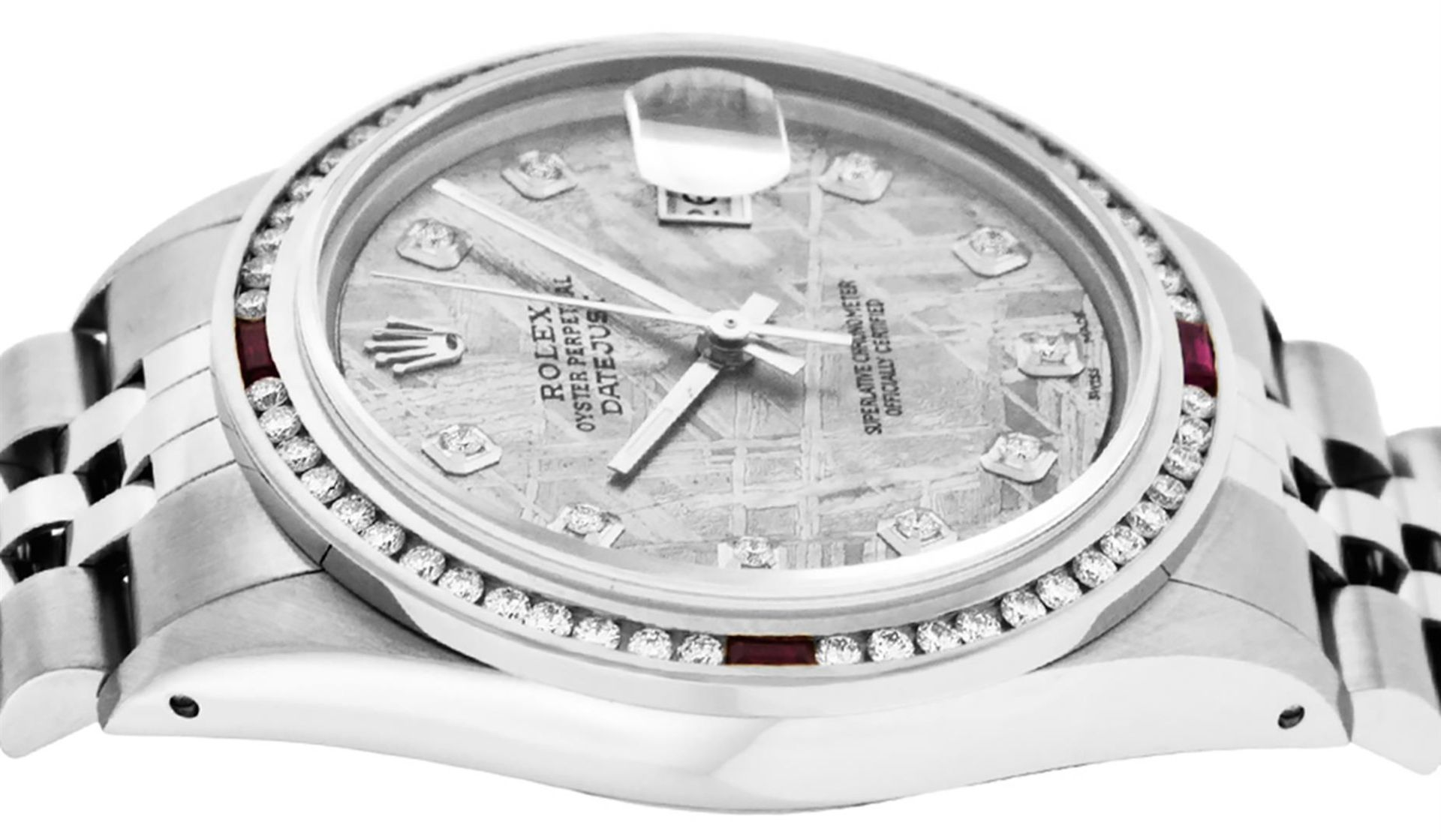 Rolex Mens SS Meteorite Diamond & Ruby Channel Set Diamond Datejust 36MM - Image 3 of 8