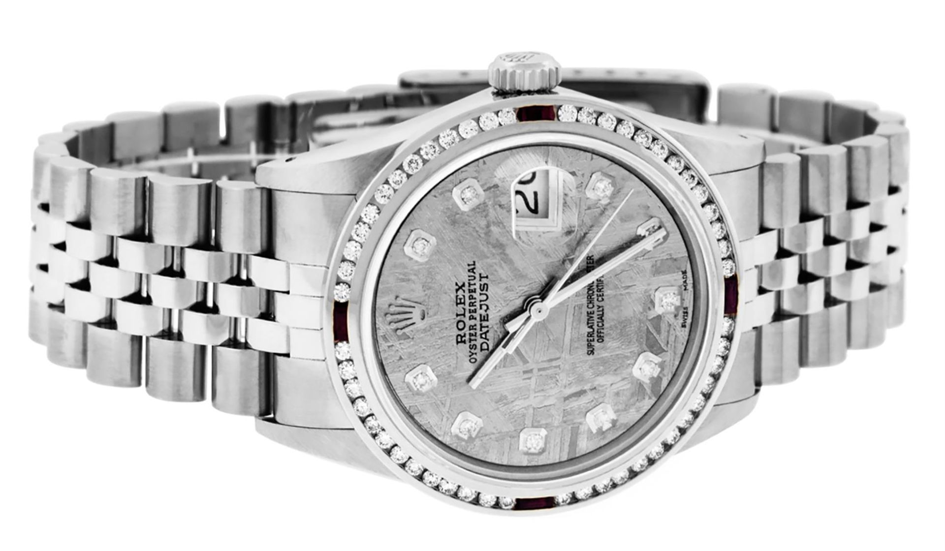 Rolex Mens SS Meteorite Diamond & Ruby Channel Set Diamond Datejust 36MM - Image 8 of 8