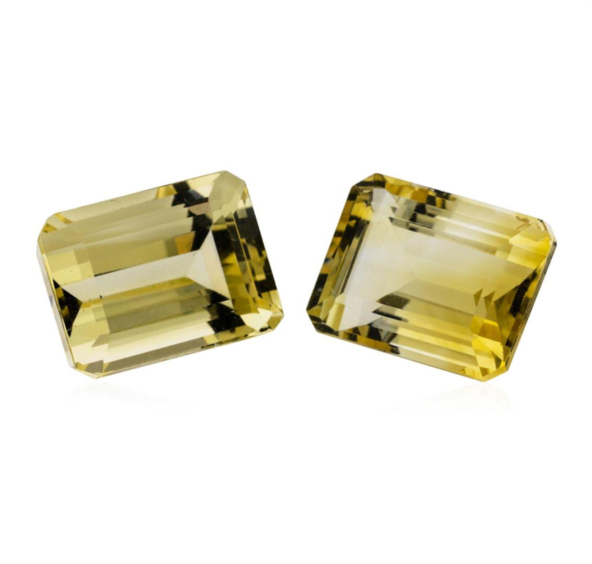 27.63ctw.Natural Emerald Cut Citrine Quartz Parcel of Two