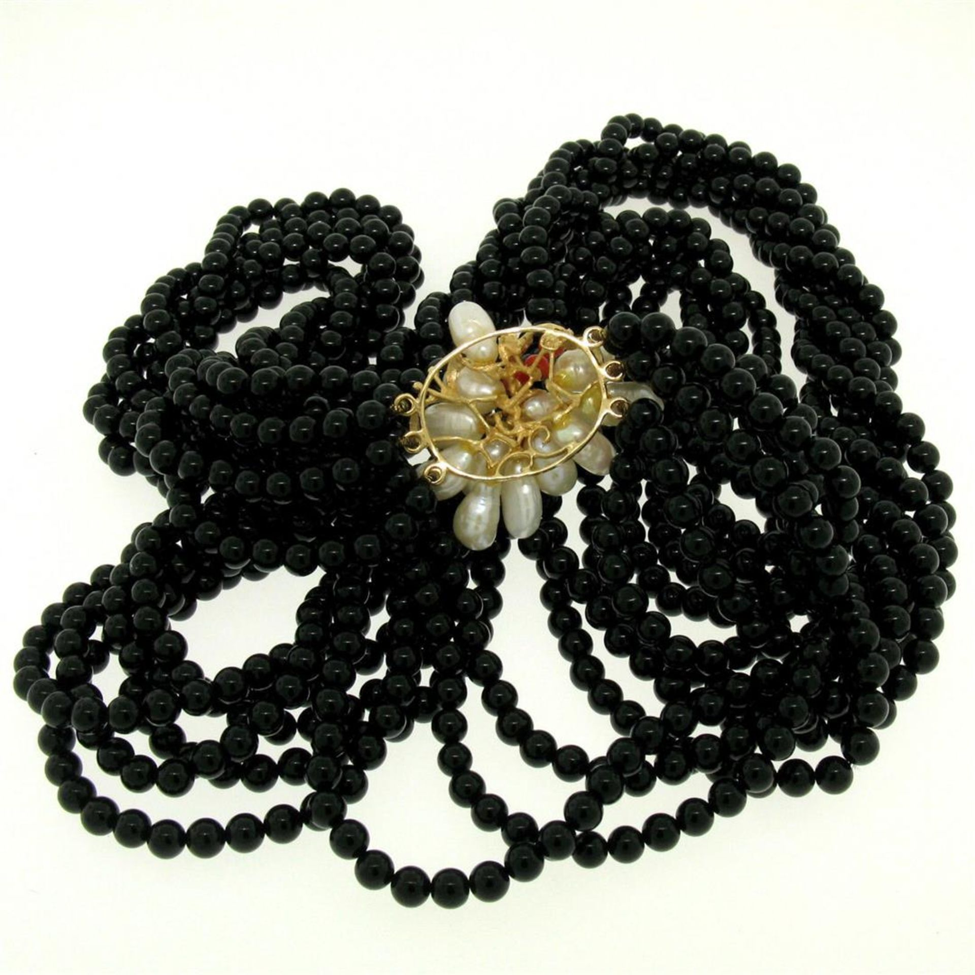 14k Gold Long Multi Strand Black Onyx Necklace w/ Freshwater Pearl & Coral Bead - Image 4 of 4