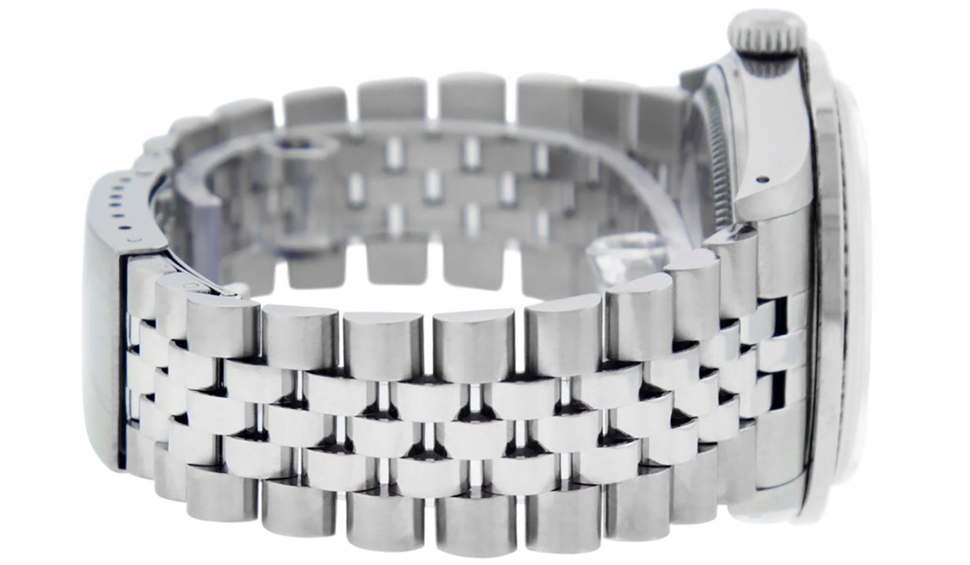 Rolex Mens SS Blue Vignette Diamond & Ruby Channel Set Diamond Datejust - Image 5 of 9