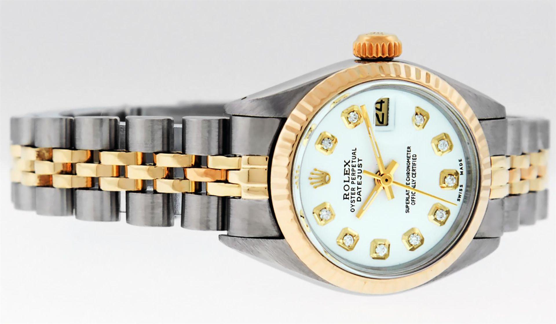 Rolex Ladies 2 Tone White Diamond 26MM Datejust Wristwatch - Image 3 of 8