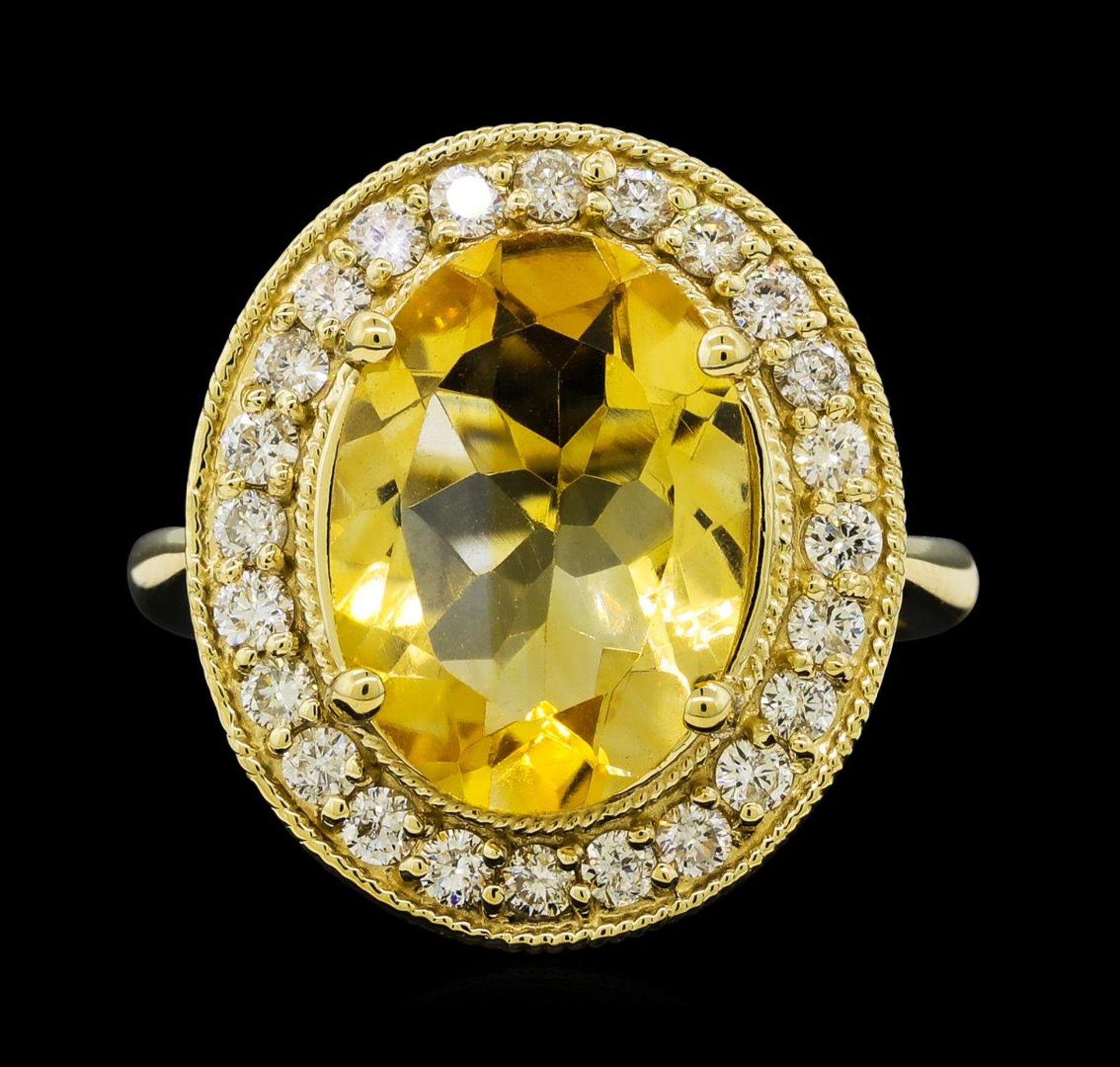 4.22 ctw Citrine Quartz and Diamond Ring - 14KT Yellow Gold - Image 2 of 4