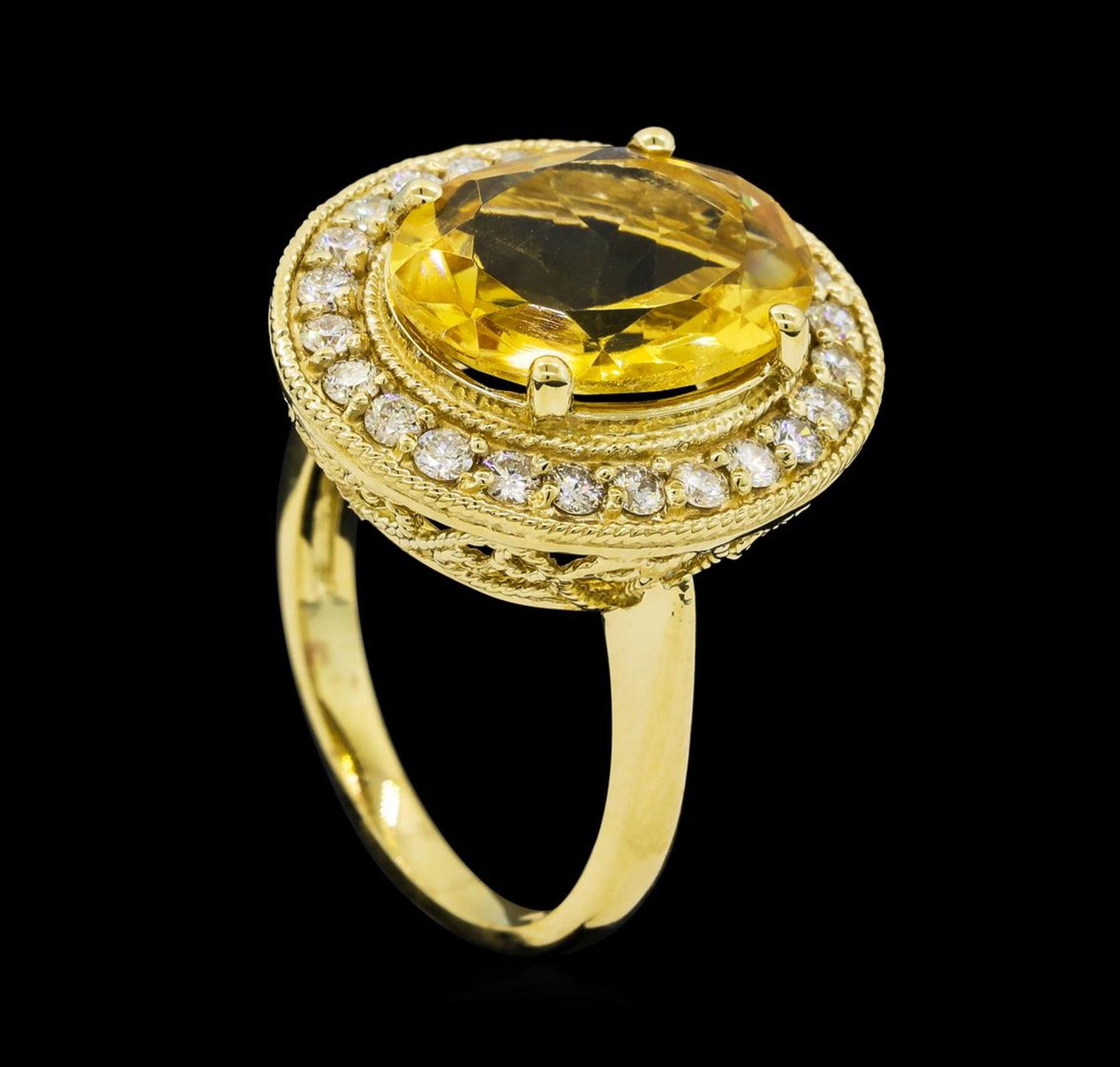 4.22 ctw Citrine Quartz and Diamond Ring - 14KT Yellow Gold - Image 4 of 4
