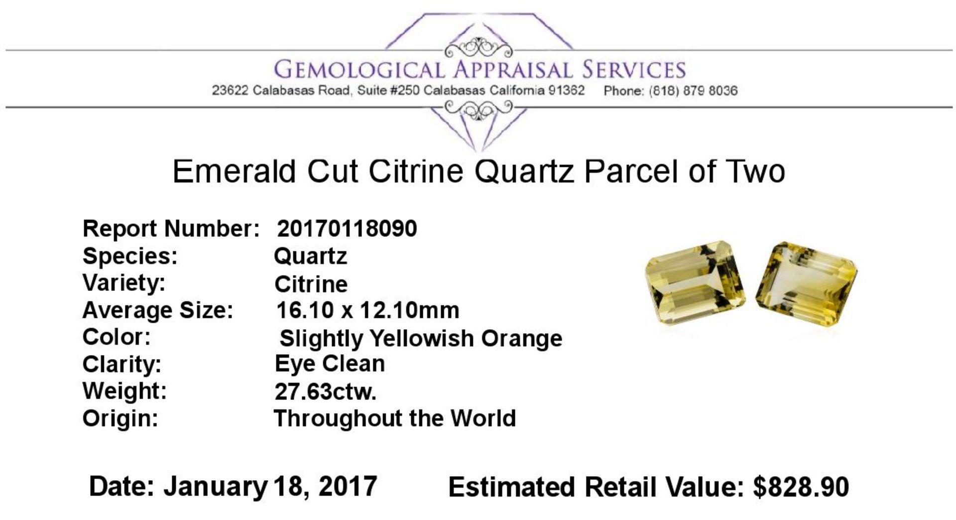 27.63ctw.Natural Emerald Cut Citrine Quartz Parcel of Two - Image 3 of 3