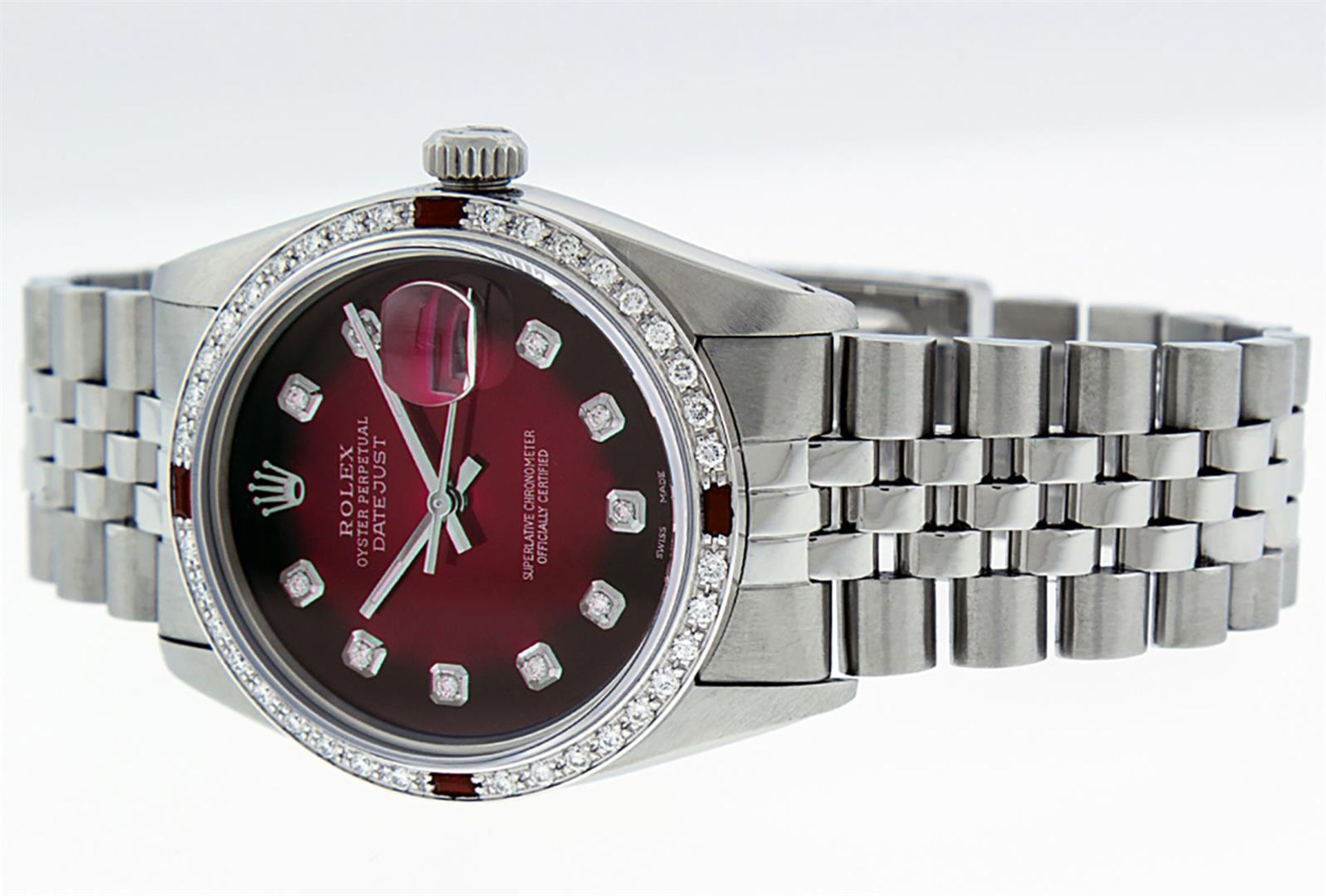 Rolex Mens Stainless Steel Red Vignette Diamond & Ruby Datejust Wristwatch - Image 9 of 9