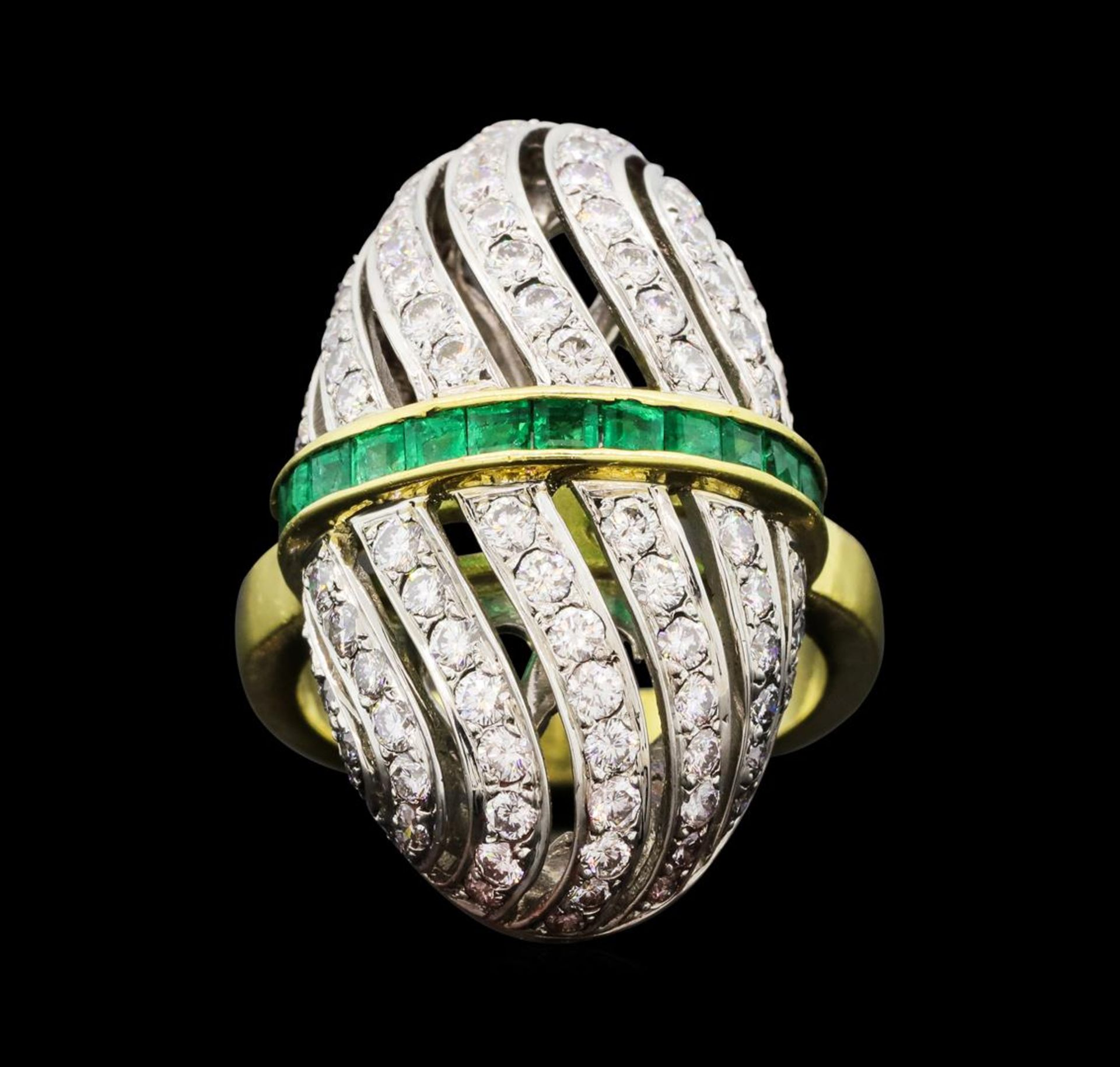 1.81 ctw Diamond and Emerald Ring - 18KT Yellow and White Gold - Image 2 of 5