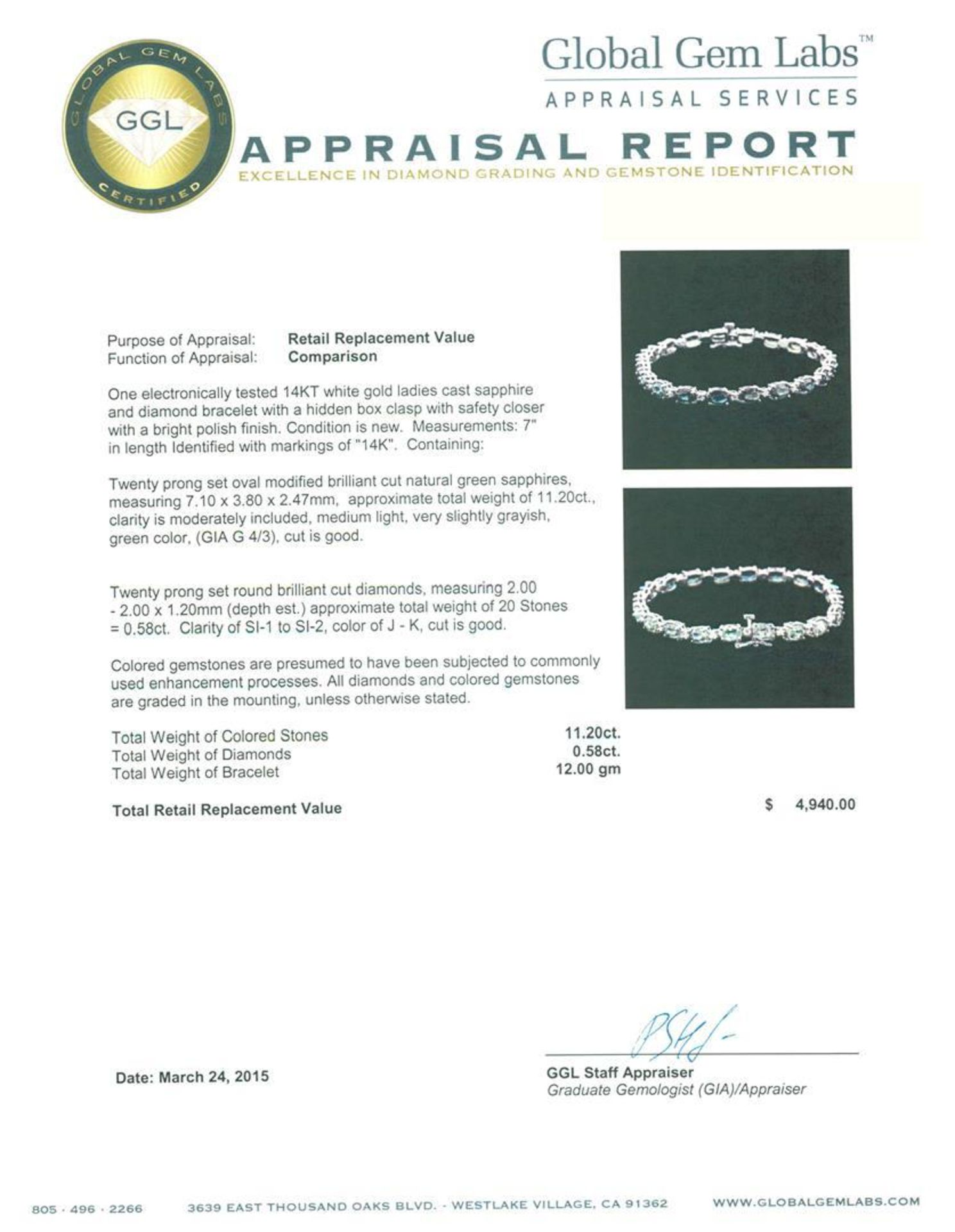 14KT White Gold 11.20 ctw Green Sapphire and Diamond Bracelet - Image 4 of 4