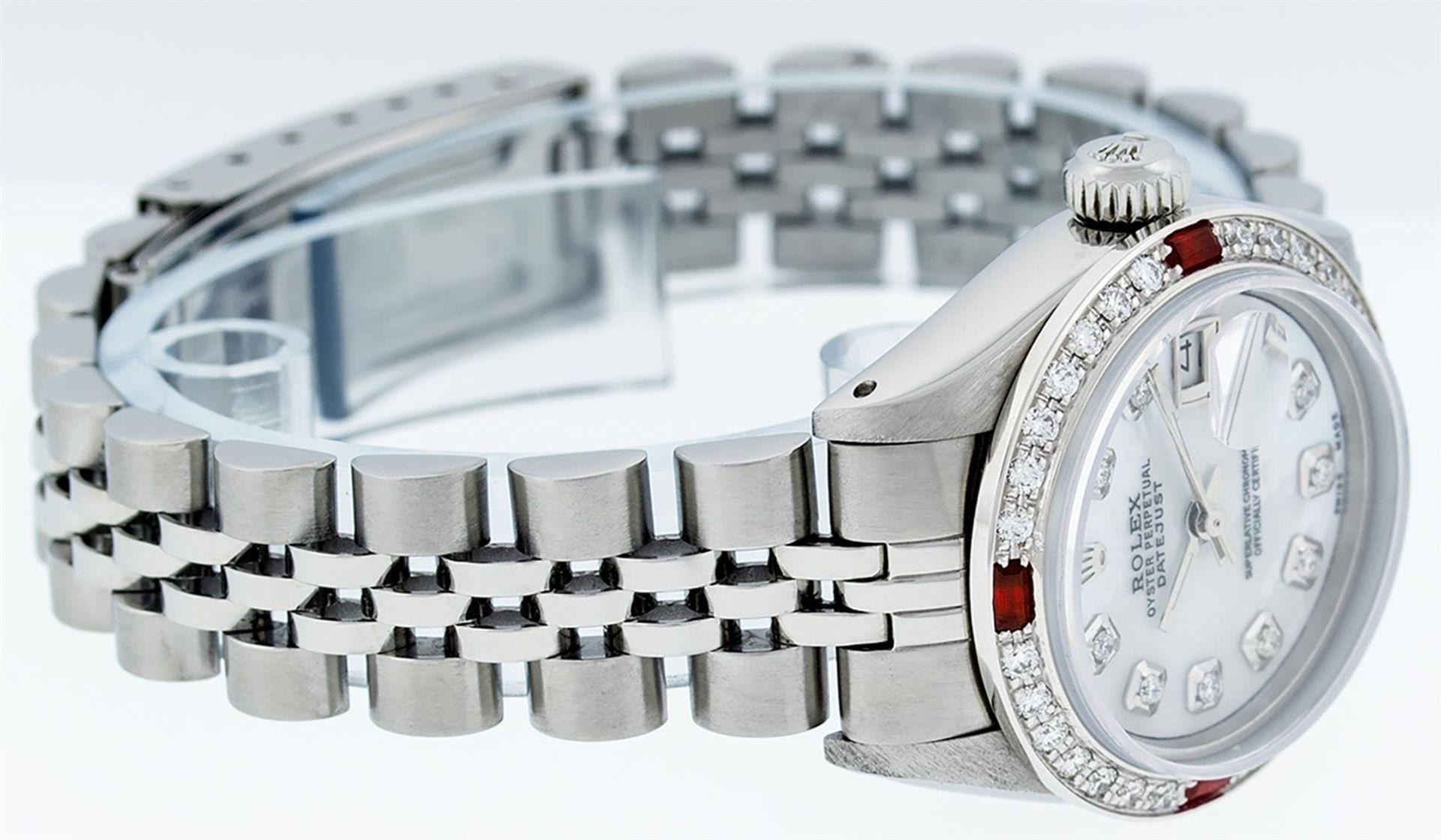 Rolex Ladies Stainless Steel MOP Diamond & Ruby 26MM Datejust Wristwatch - Image 3 of 9