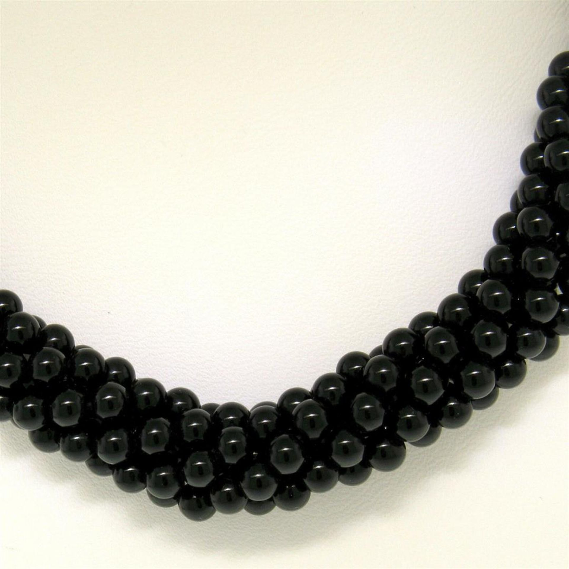 14k Gold Long Multi Strand Black Onyx Necklace w/ Freshwater Pearl & Coral Bead - Image 2 of 4