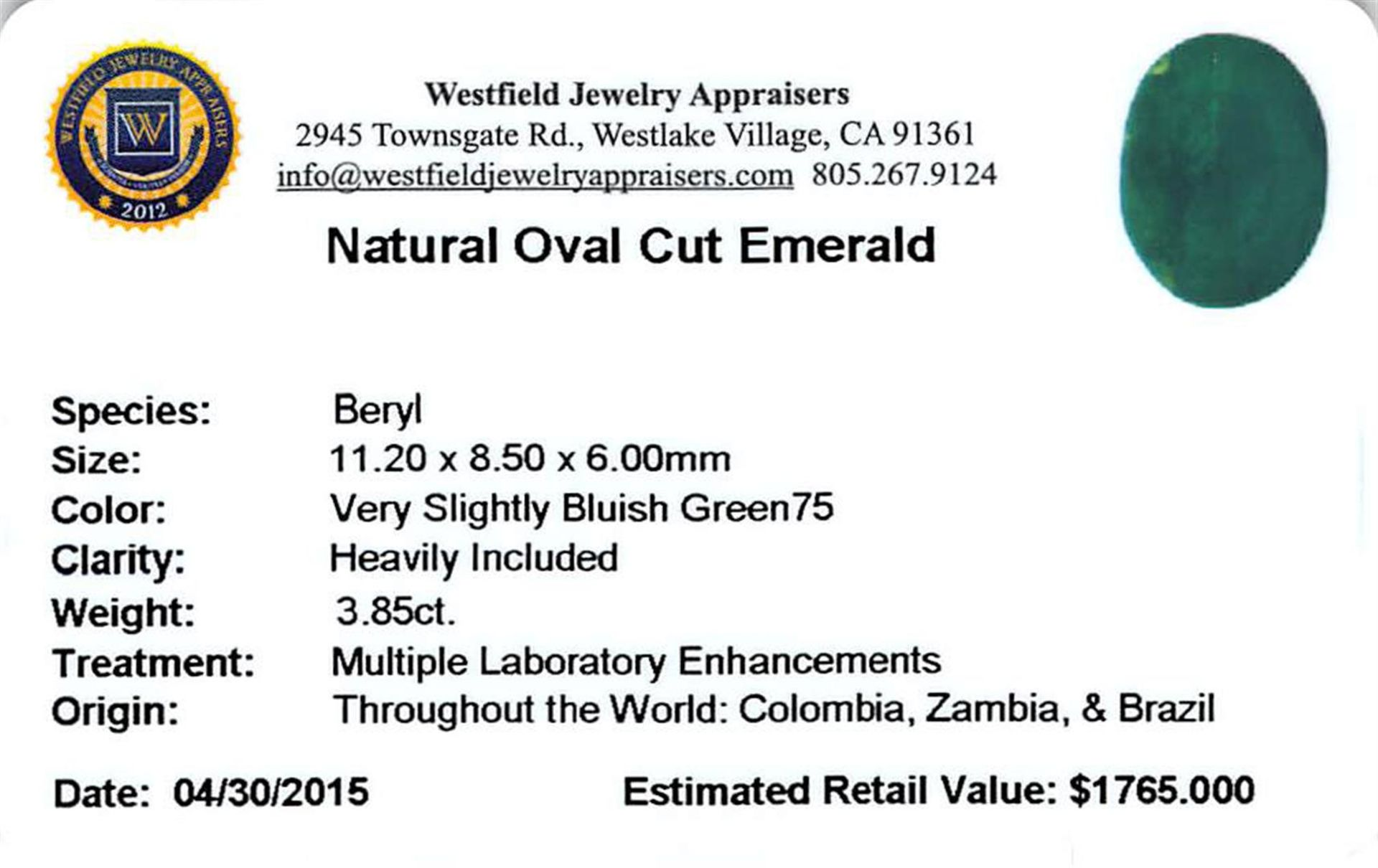 3.85 ctw Oval Emerald Parcel - Image 2 of 2