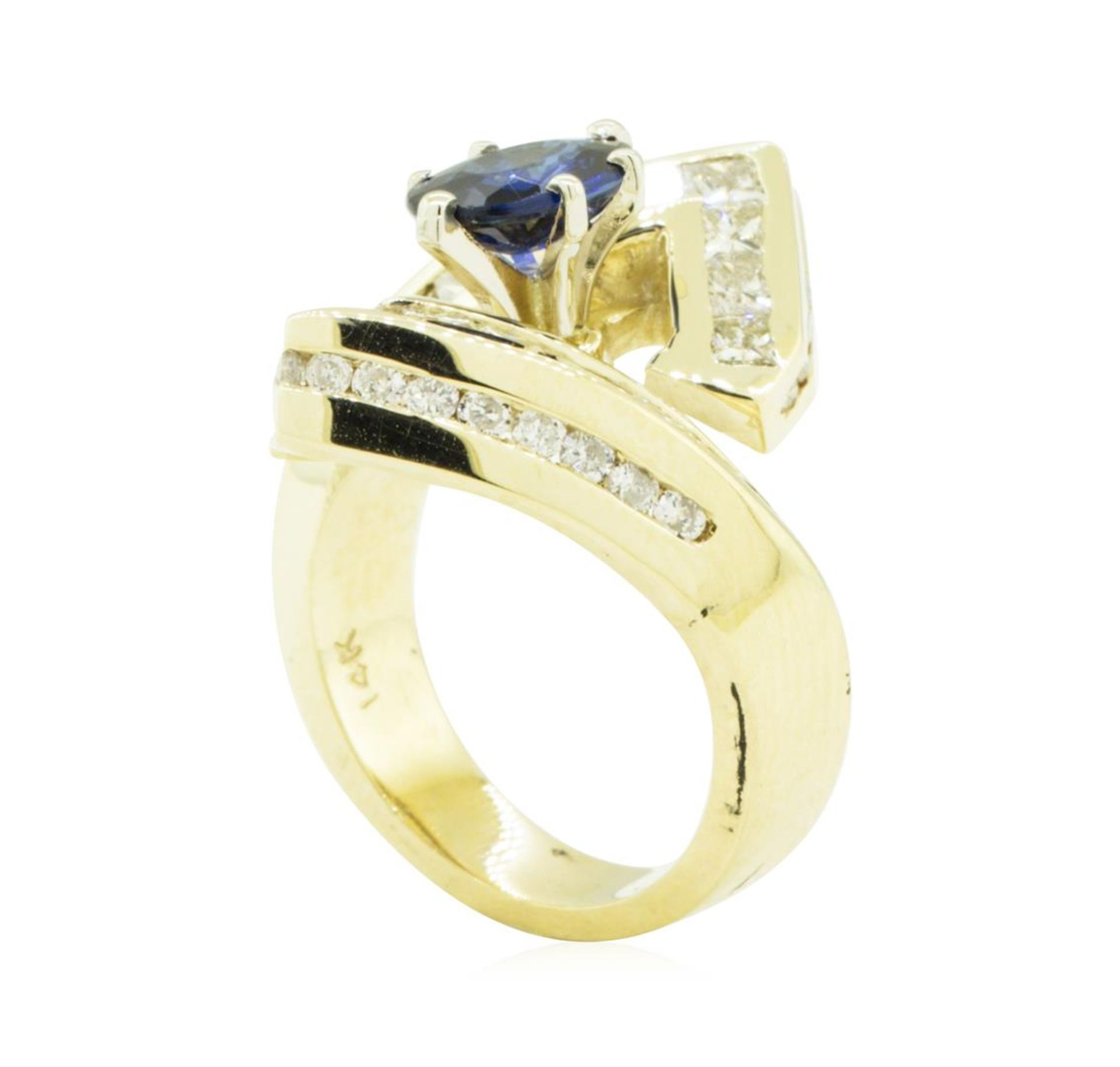 3.16 ctw Oval Brilliant Blue Sapphire And Diamond Ring - 14KT Yellow Gold - Image 4 of 5