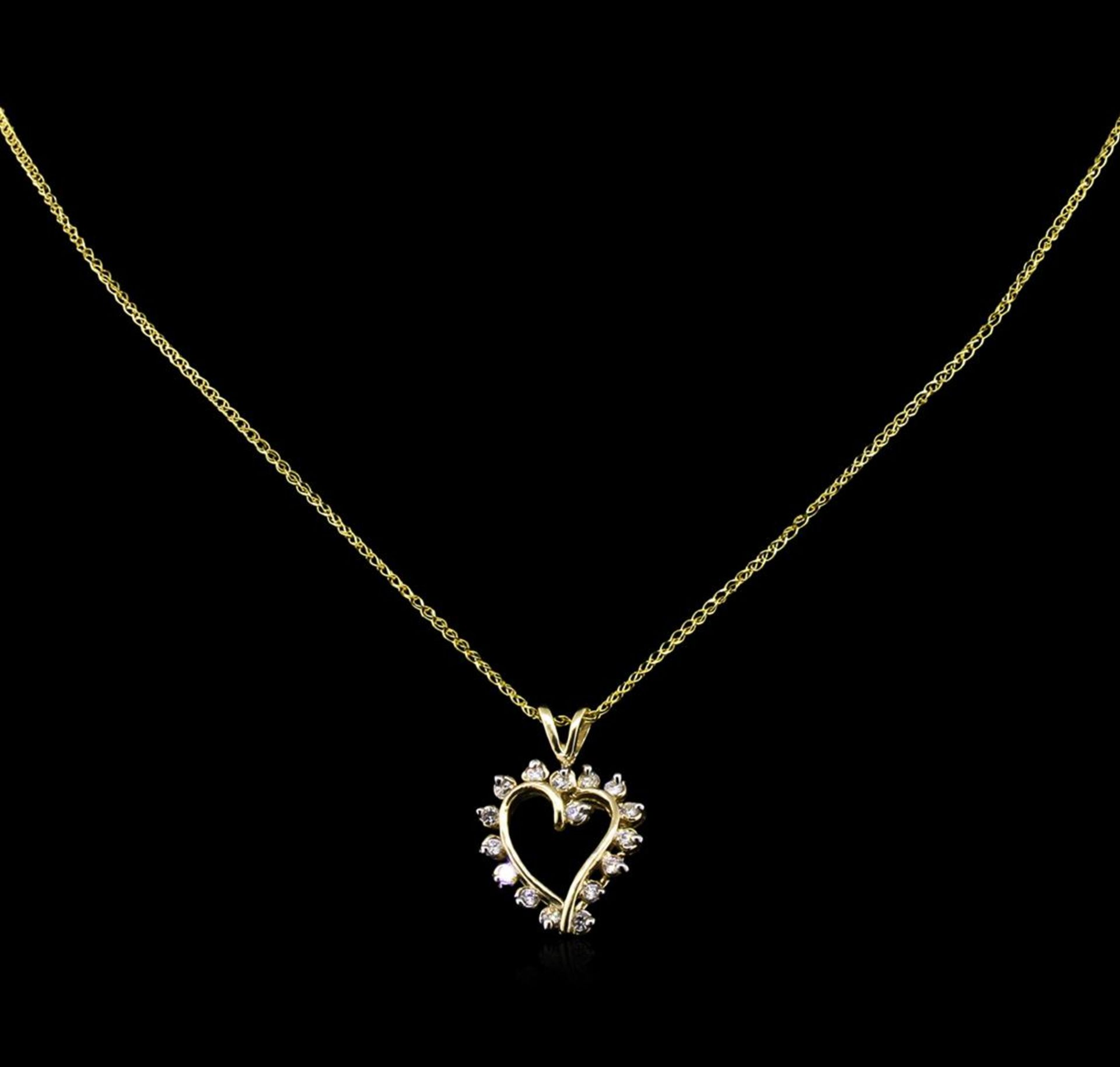 0.72 ctw Diamond Pendant With Chain - 14KT Yellow Gold - Image 2 of 2