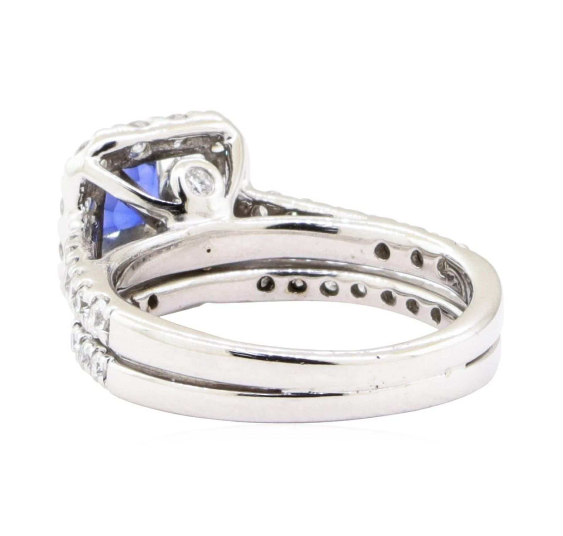 1.66 ctw Sapphire And Diamond Ring And Attached Band - 14KT White Gold - Image 3 of 5