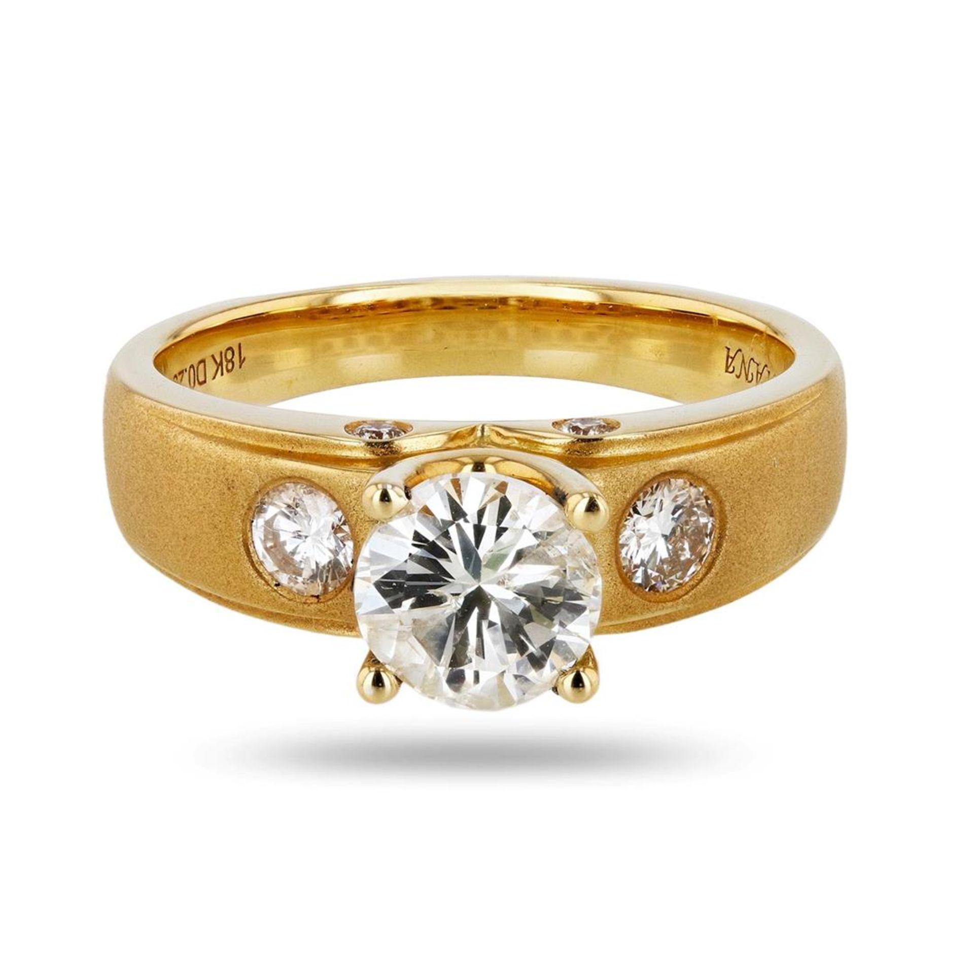 0.97ct SI2 Diamond 18K Yellow Gold Unity Ring (1.26ctw Diamonds)