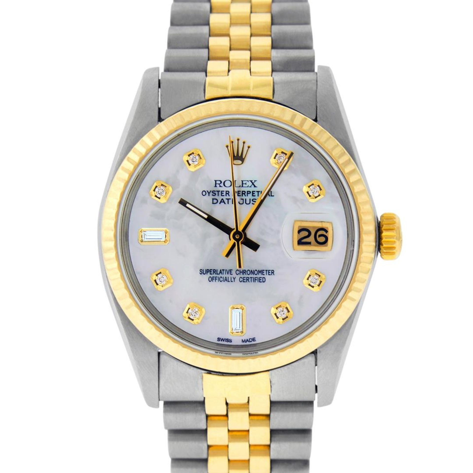 Rolex Mens 2 Tone Mother Of Pearl Diamond 36MM Oyster Perpetual Datejust - Image 2 of 7