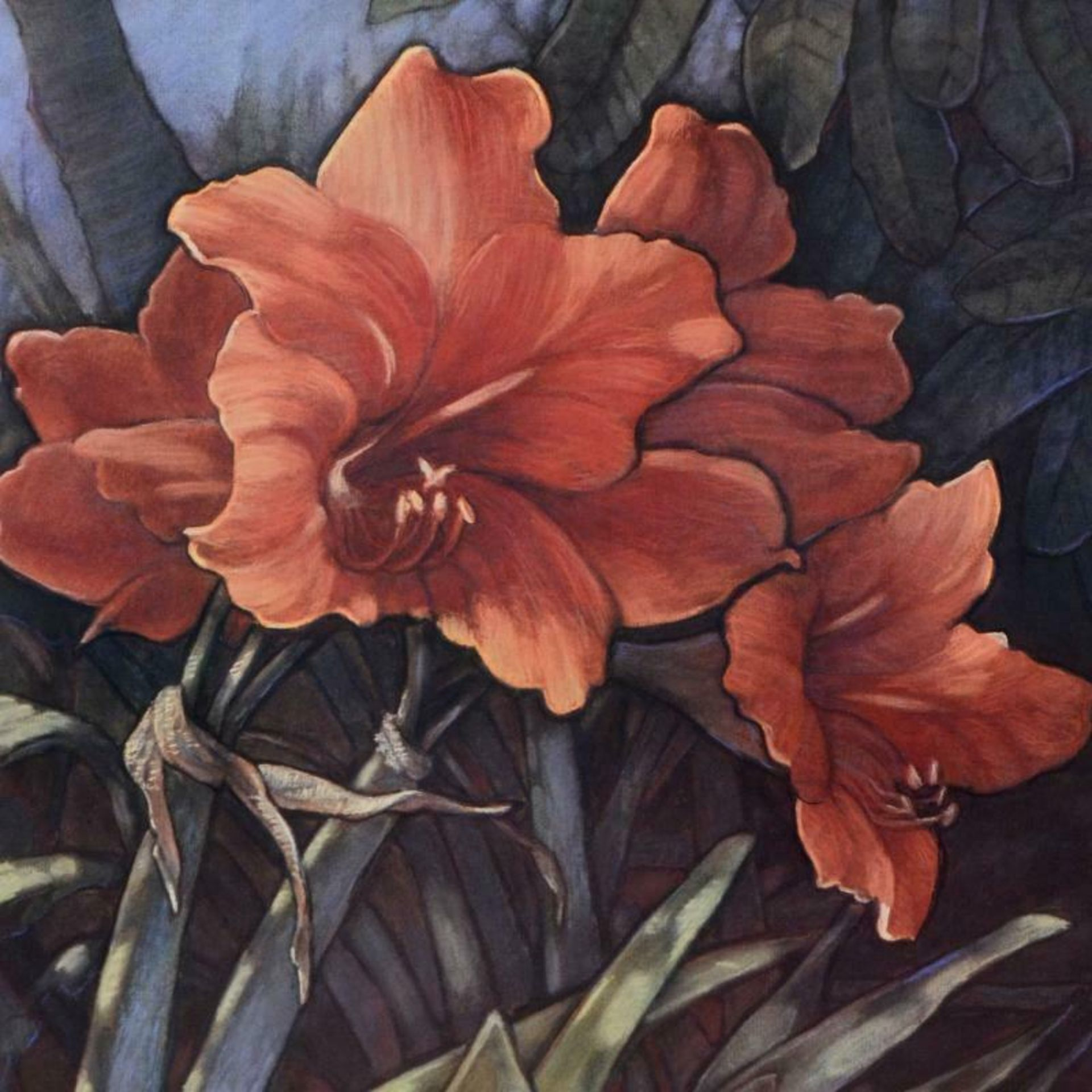 "Diane Garrick Scholze, ""Paradise Garden-Amaryllis"" Limited Edition Lithograph, N - Image 2 of 2"