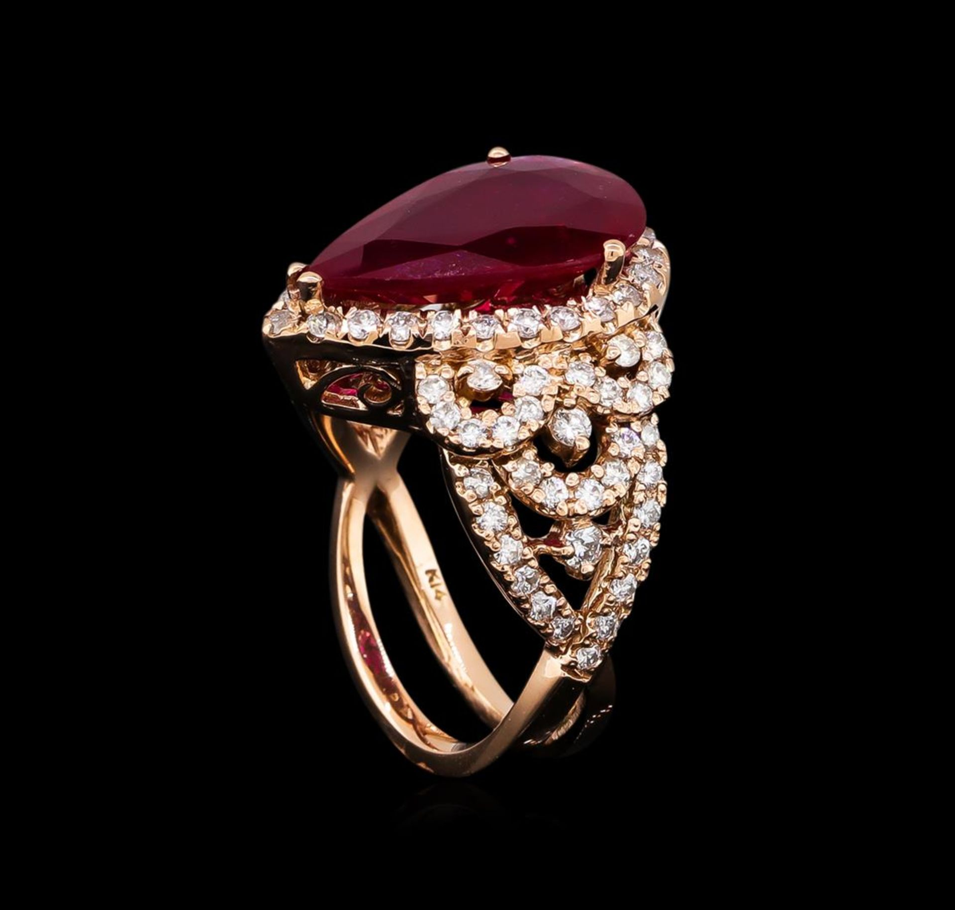 5.35ct Ruby and Diamond Ring - 14KT Rose Gold - Image 4 of 6