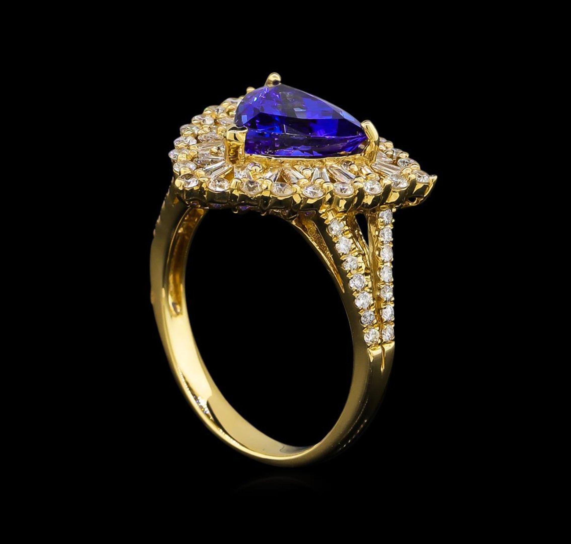 14KT Yellow Gold 2.86 ctw Tanzanite and Diamond Ring - Image 4 of 5