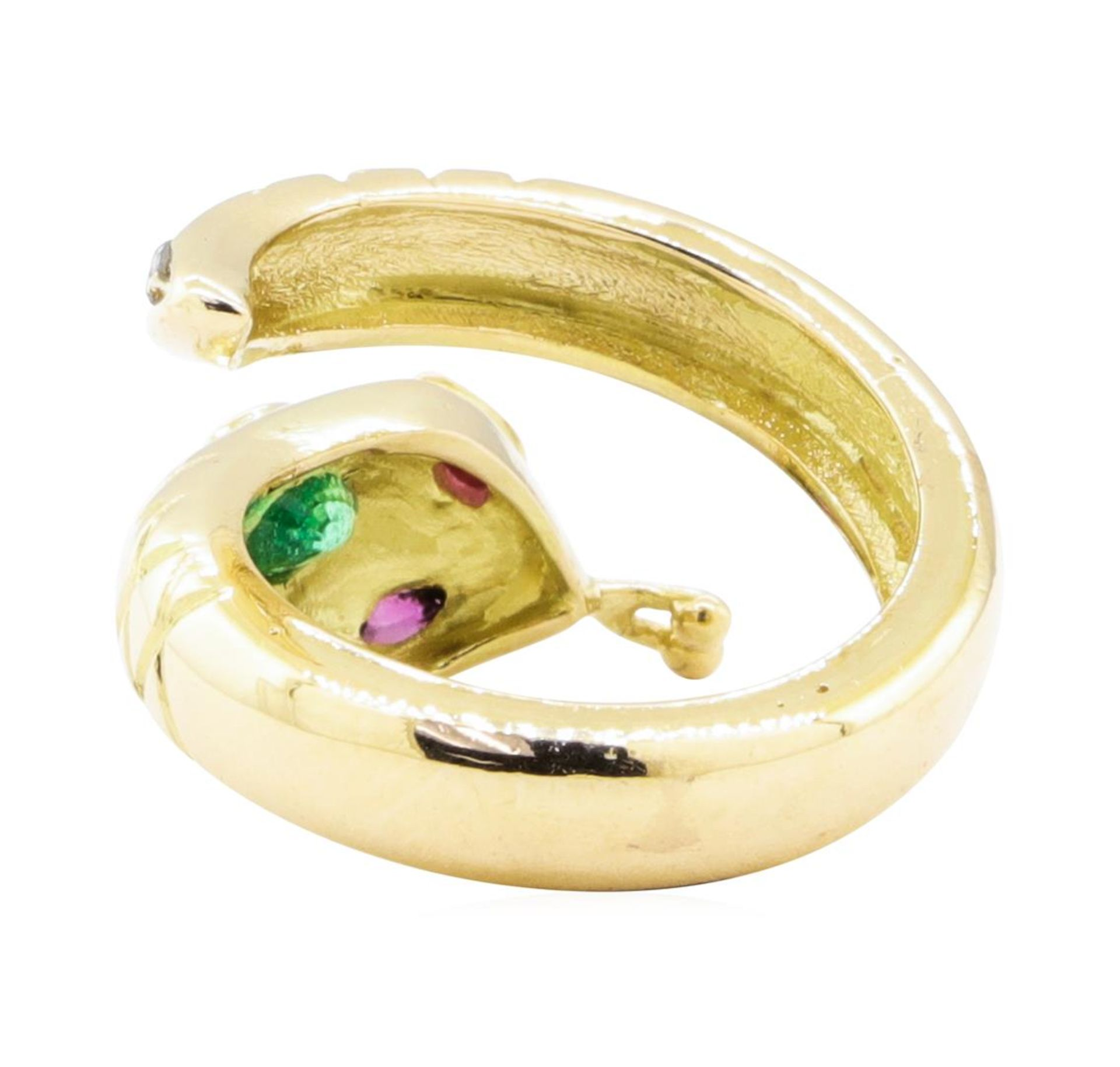 0.66ctw Emerald, Ruby, and Diamond Snake Ring - 14KT Yellow Gold - Image 3 of 4