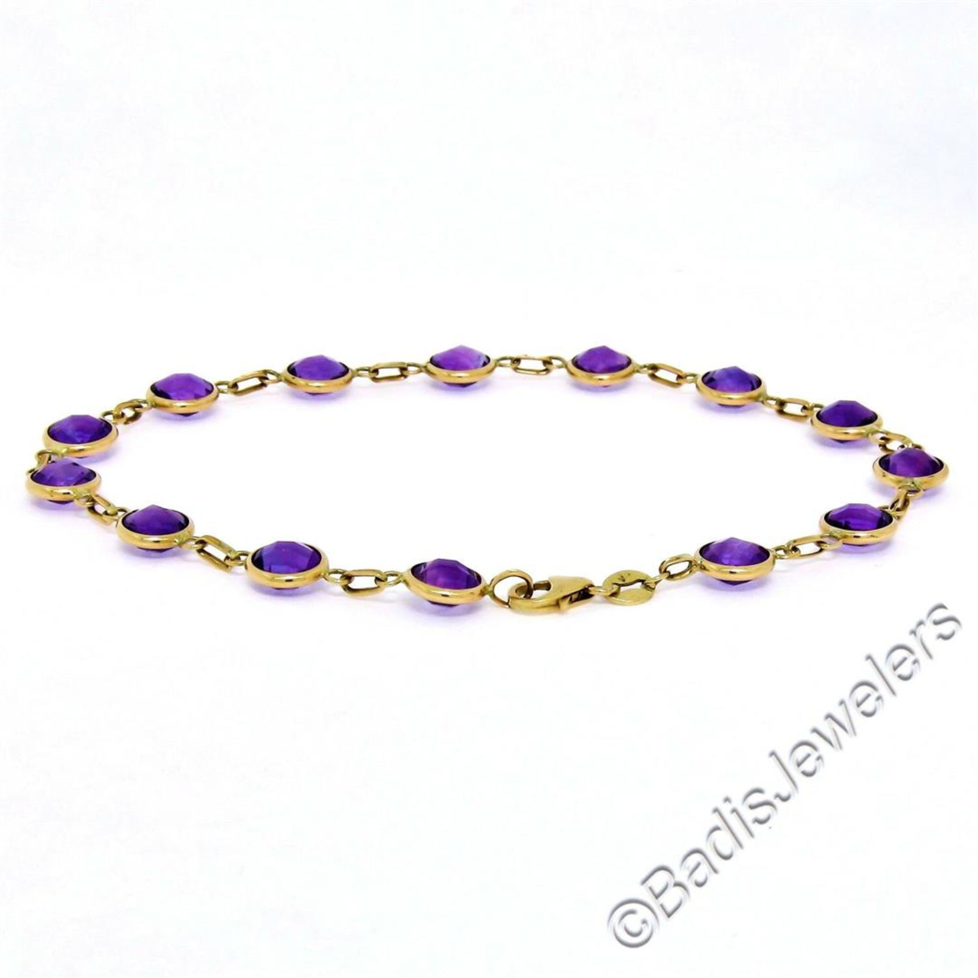 14kt Yellow Gold 10.50ctw Round Checkerboard Amethyst by the Yard Chain Bracelet - Image 4 of 5