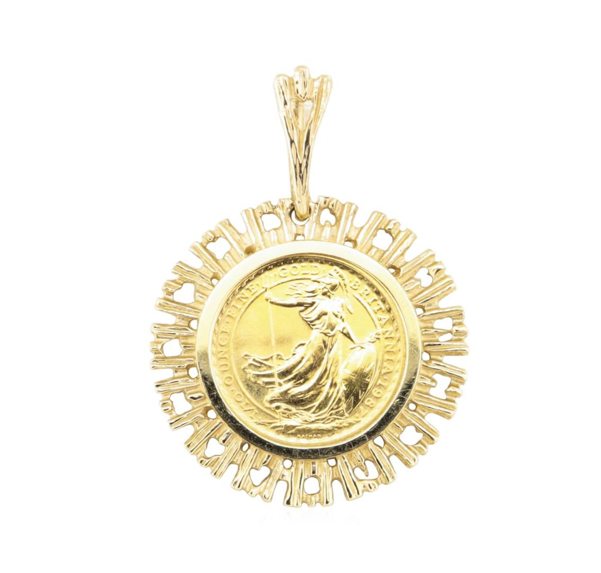 1/10th British Sovereign Coin Pendant - 14KT - 24KT Yellow Gold - Image 2 of 2