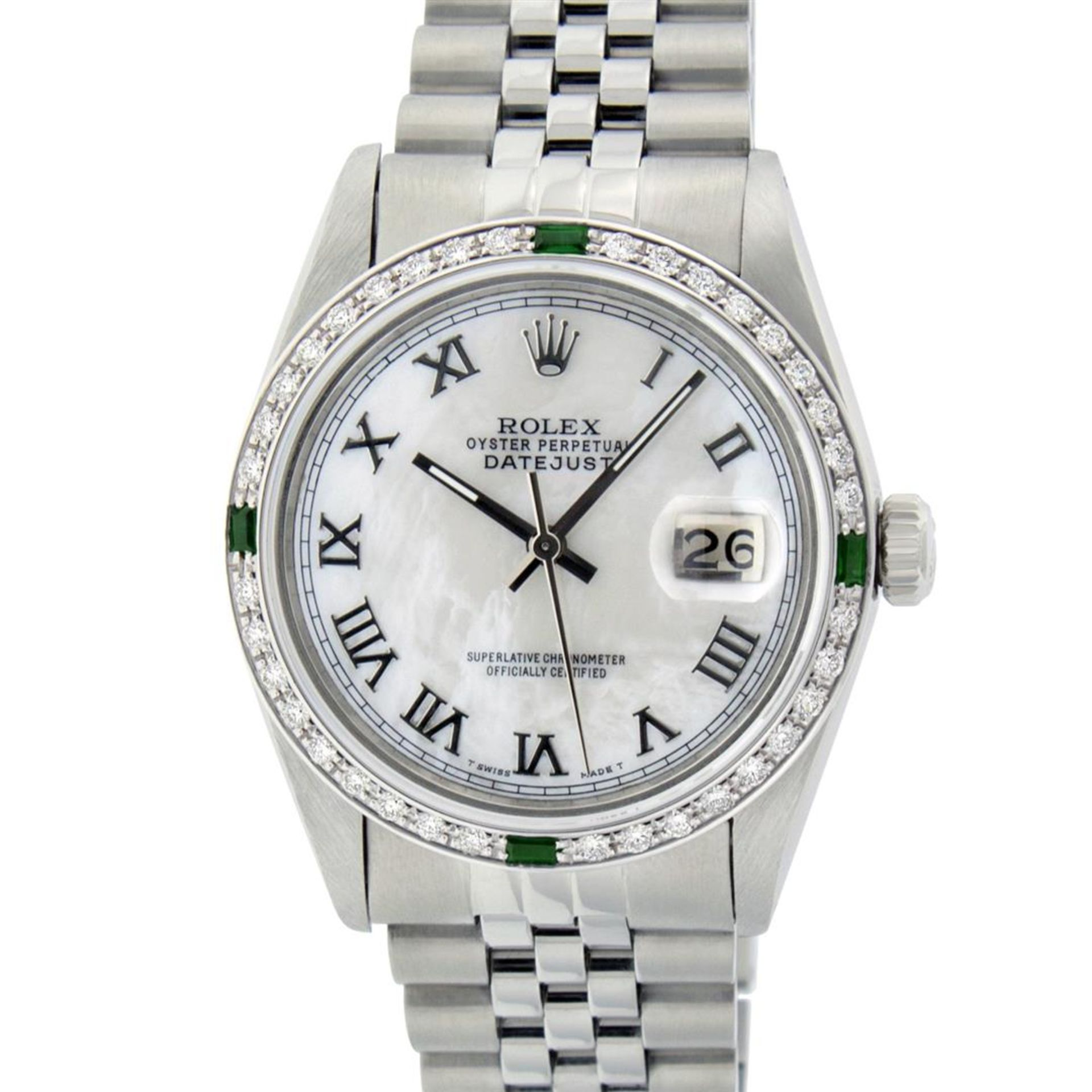 Rolex Mens Stainless Steel Silver MOP Roman 36MM Diamond & Emerald Datejust - Image 3 of 9