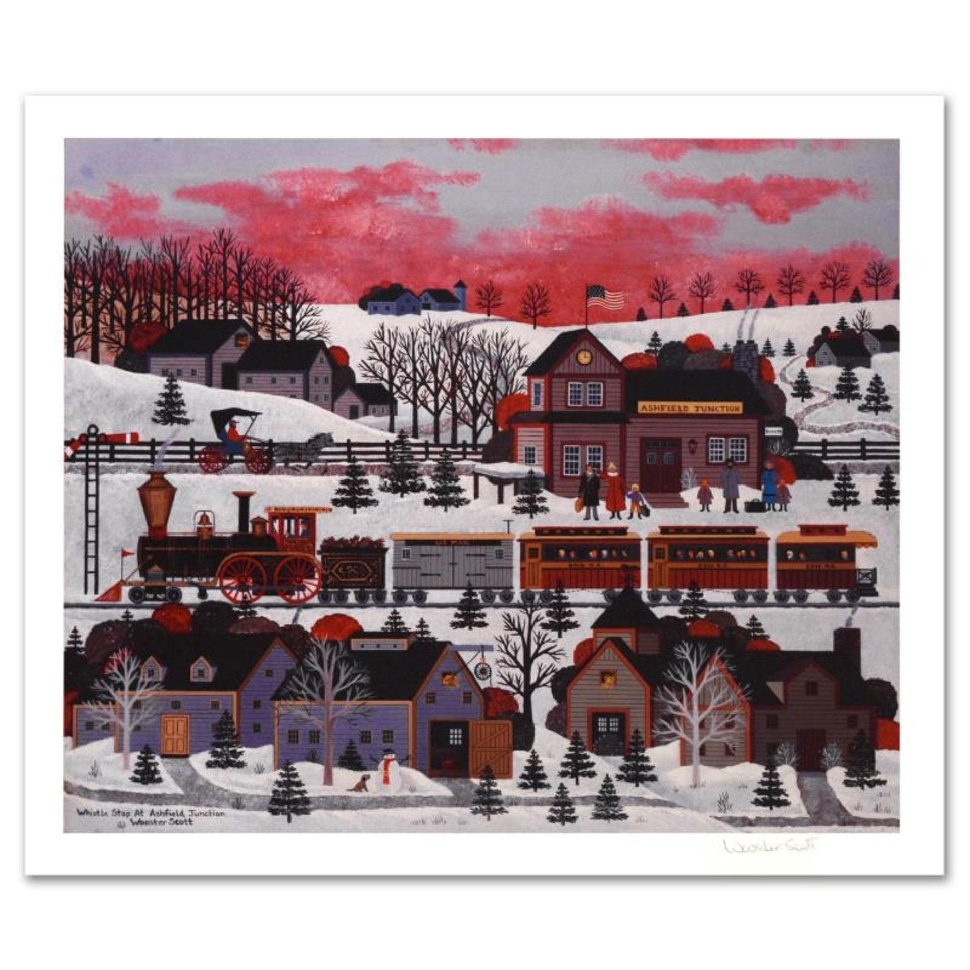"""Jane Wooster Scott, """"Whistle Stop at Ashfield Junction"""" Hand Signed Limited Edit"""