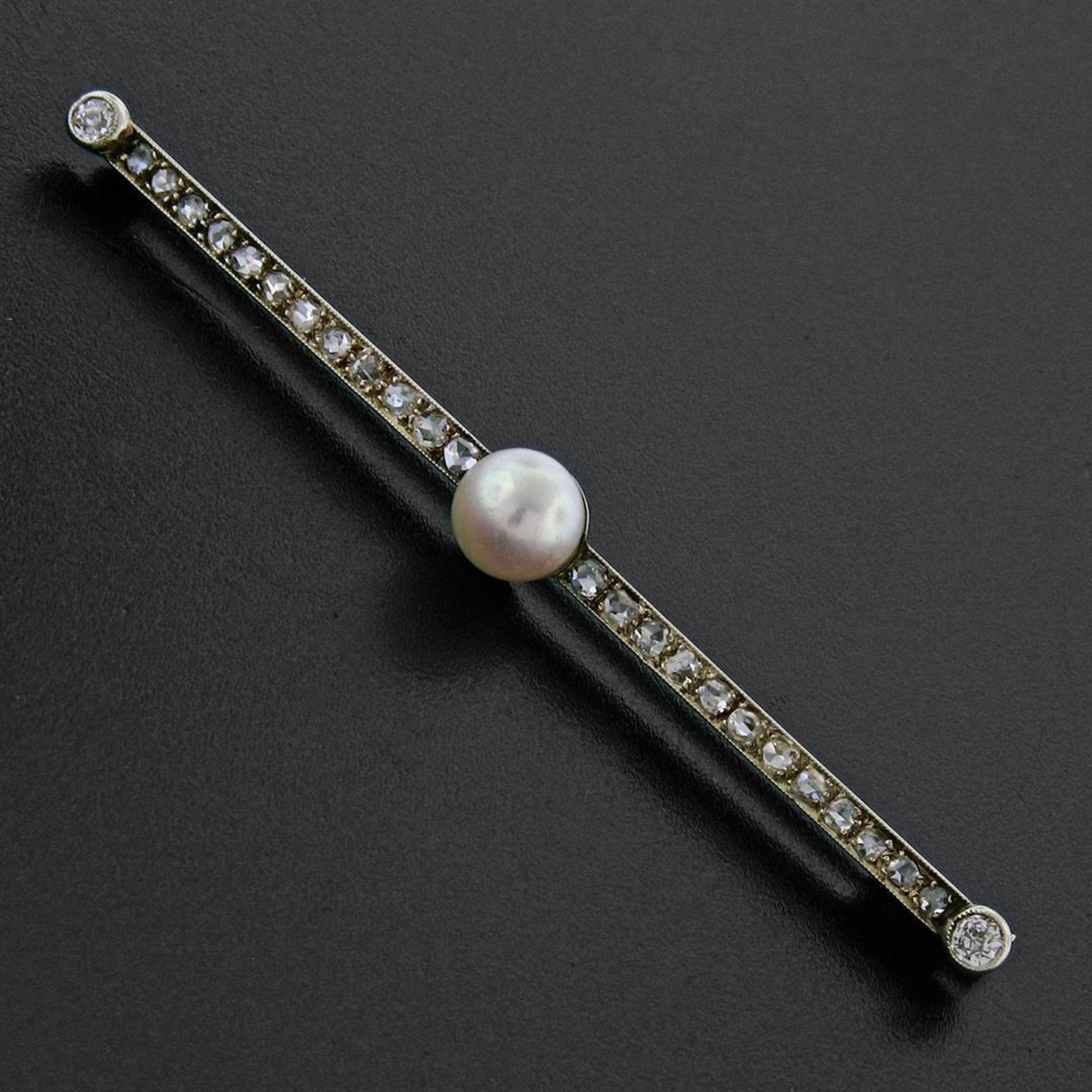 Antique 18K Gold 1.10ctw Rose & Old Mine Diamond & Pearl Milgrain Bar Pin Brooch - Image 2 of 5