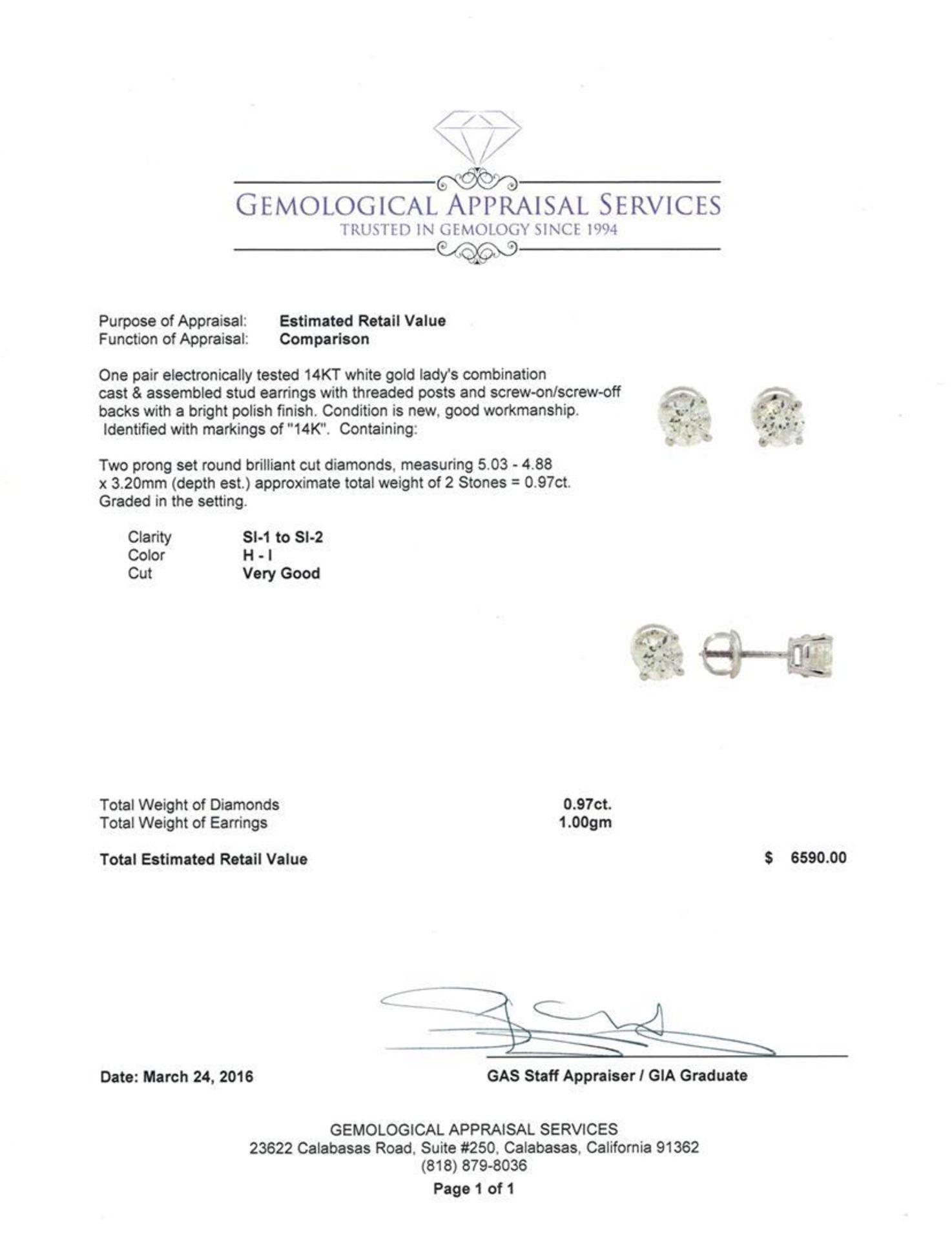 0.97 ctw Diamond Stud Earrings - 14KT White Gold - Image 3 of 3