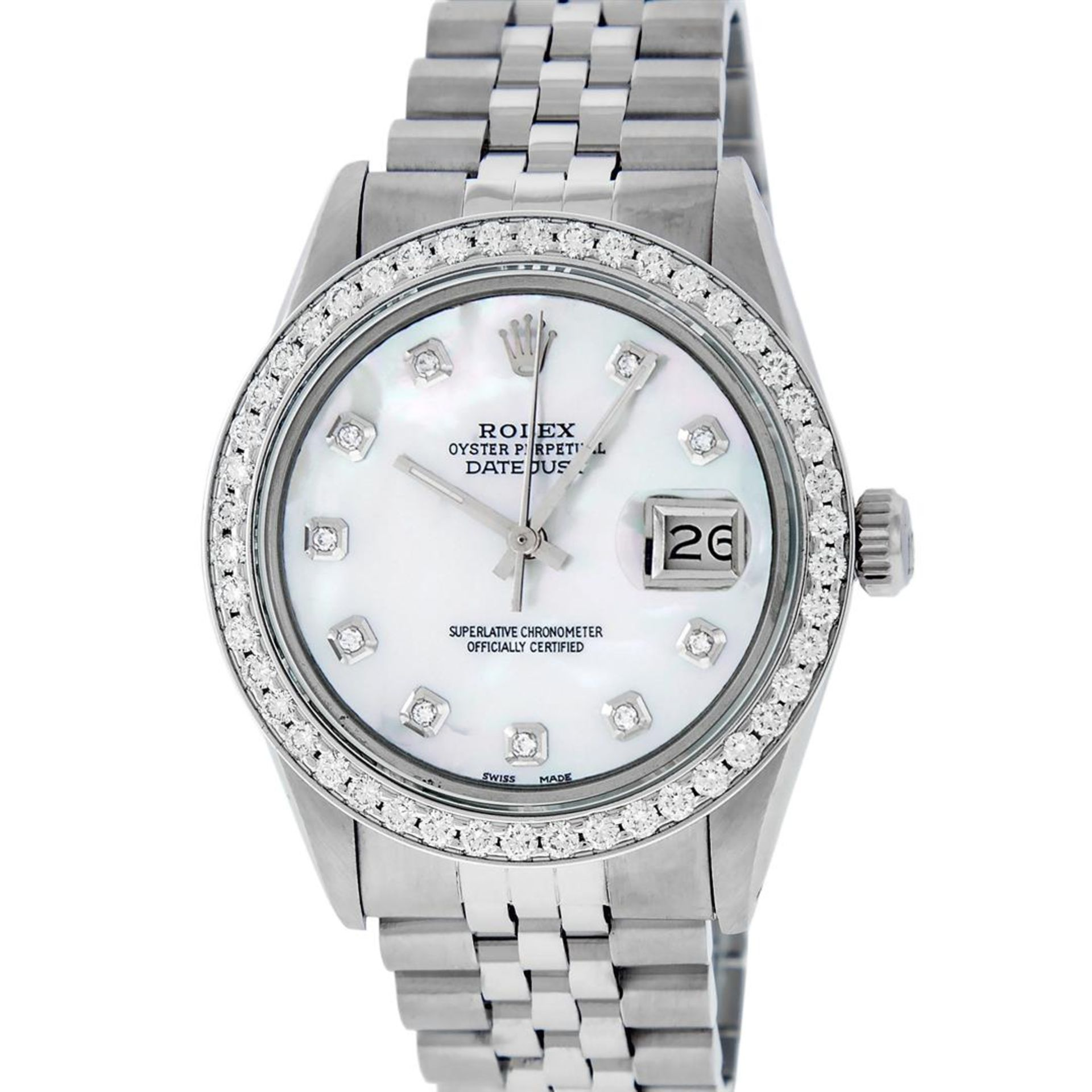 Rolex Mens Stainless Steel Mother Of Pearl Diamond 36MM Datejust Wristwatch - Image 2 of 8