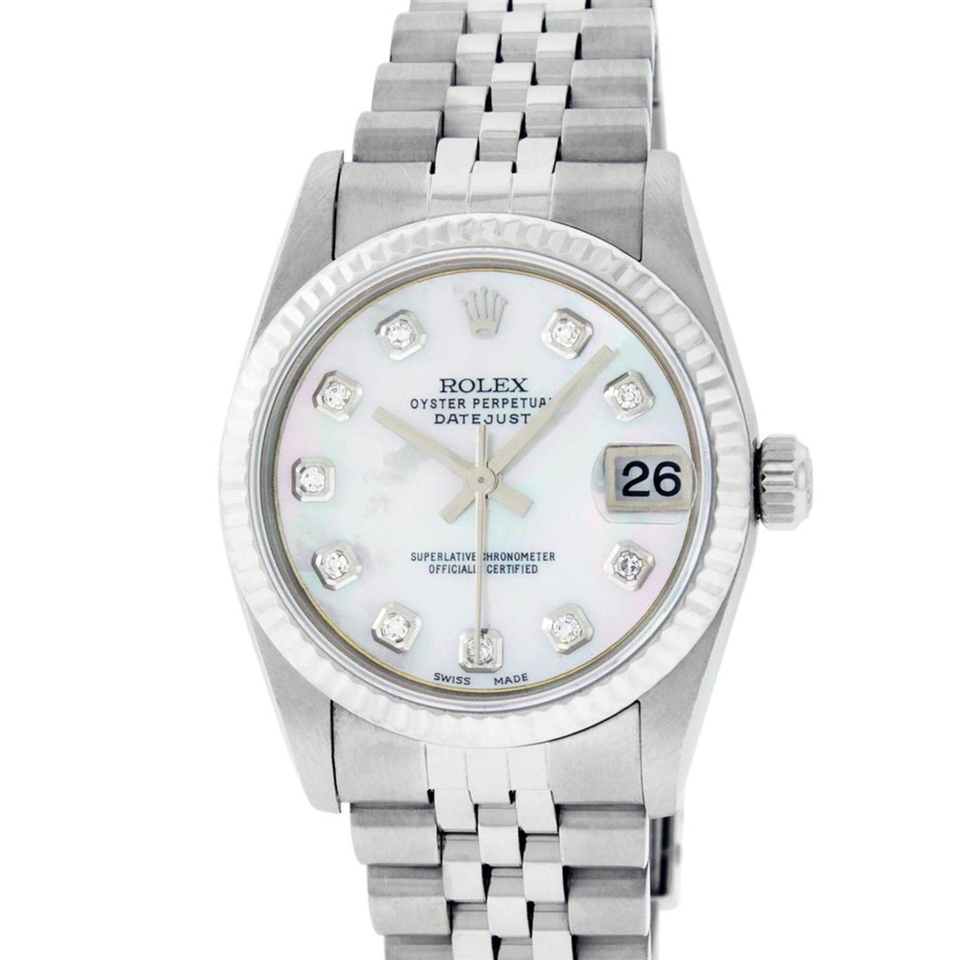Rolex Womens Midsize Quickset 31mm MOP Diamond Stainless Steel Datejust Wriswatc - Image 2 of 9