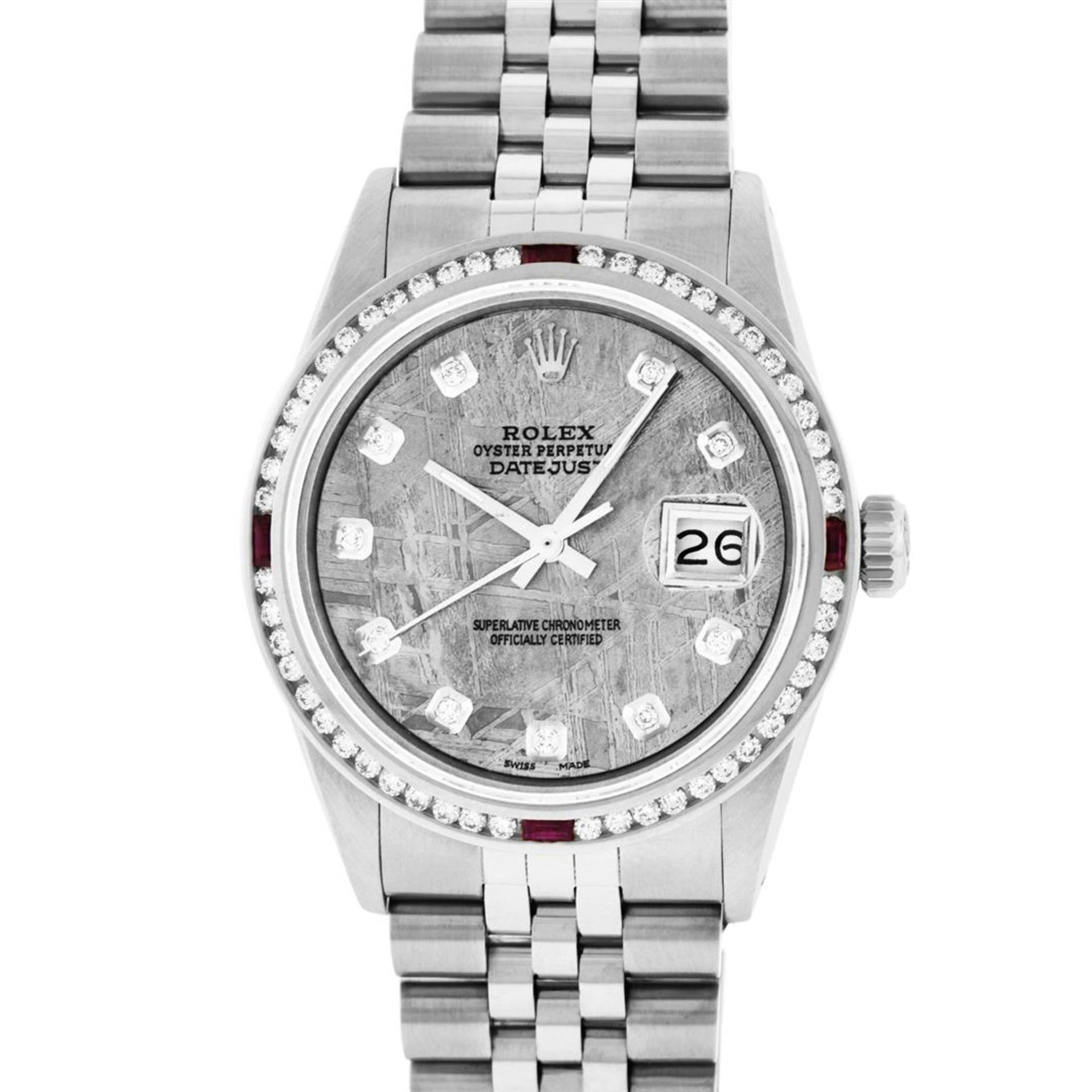 Rolex Mens SS Meteorite Diamond & Ruby Channel Set Diamond Datejust 36MM - Image 2 of 8