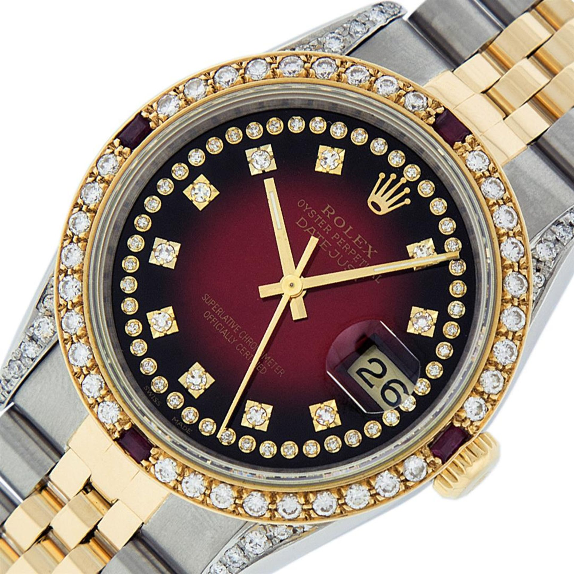 Rolex Mens 2 Tone Lugs Red Vignette Diamond String & Ruby Datejust Wristwatch - Image 2 of 9