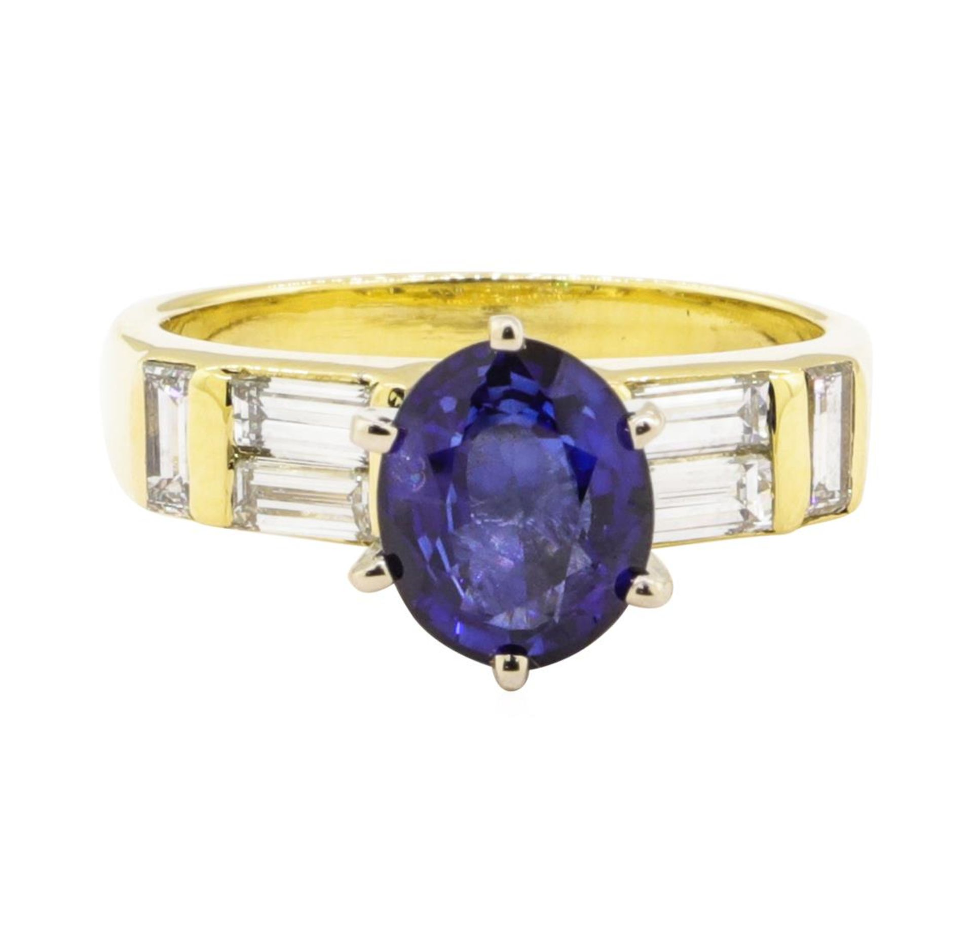 2.93 ctw Blue Sapphire And Diamond With Elevated Shoulders - 18KT Yellow Gold - Image 2 of 5