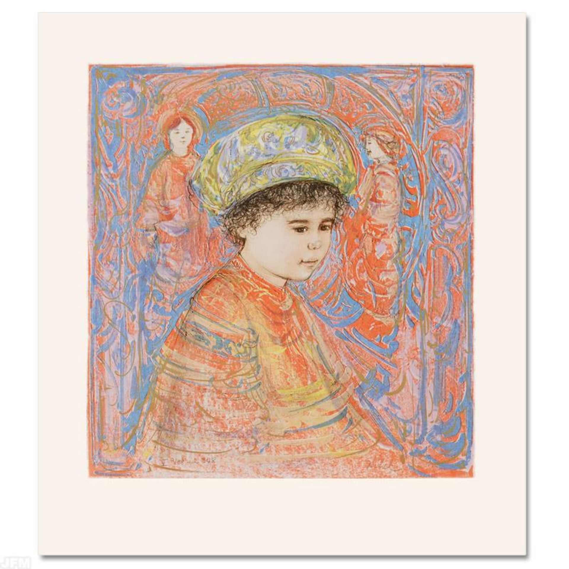 """""""Boy with Turban"""" Limited Edition Lithograph by Edna Hibel (1917-2014), Numbered"""