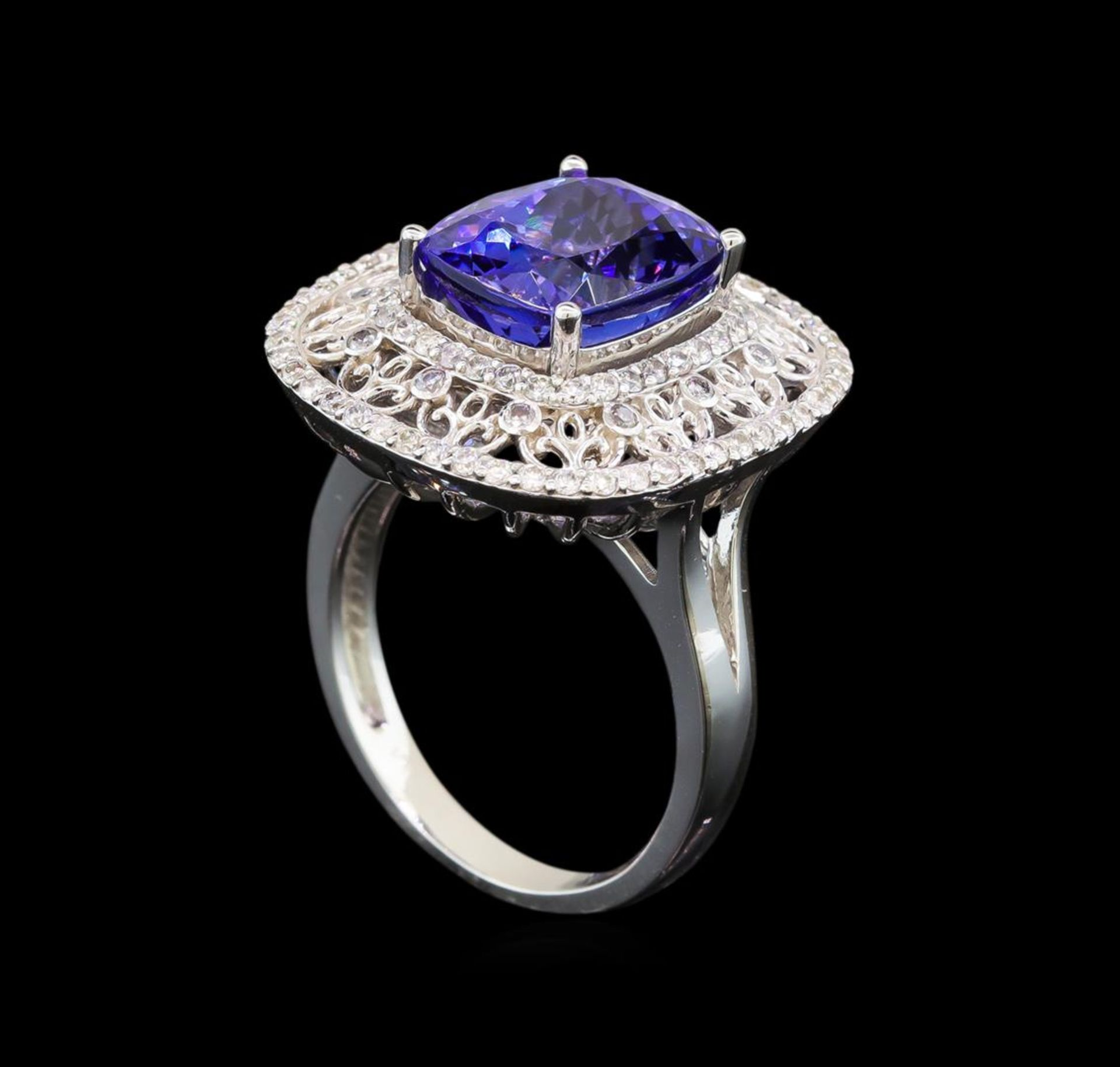 14KT White Gold 5.29 ctw Tanzanite and Diamond Ring - Image 4 of 5