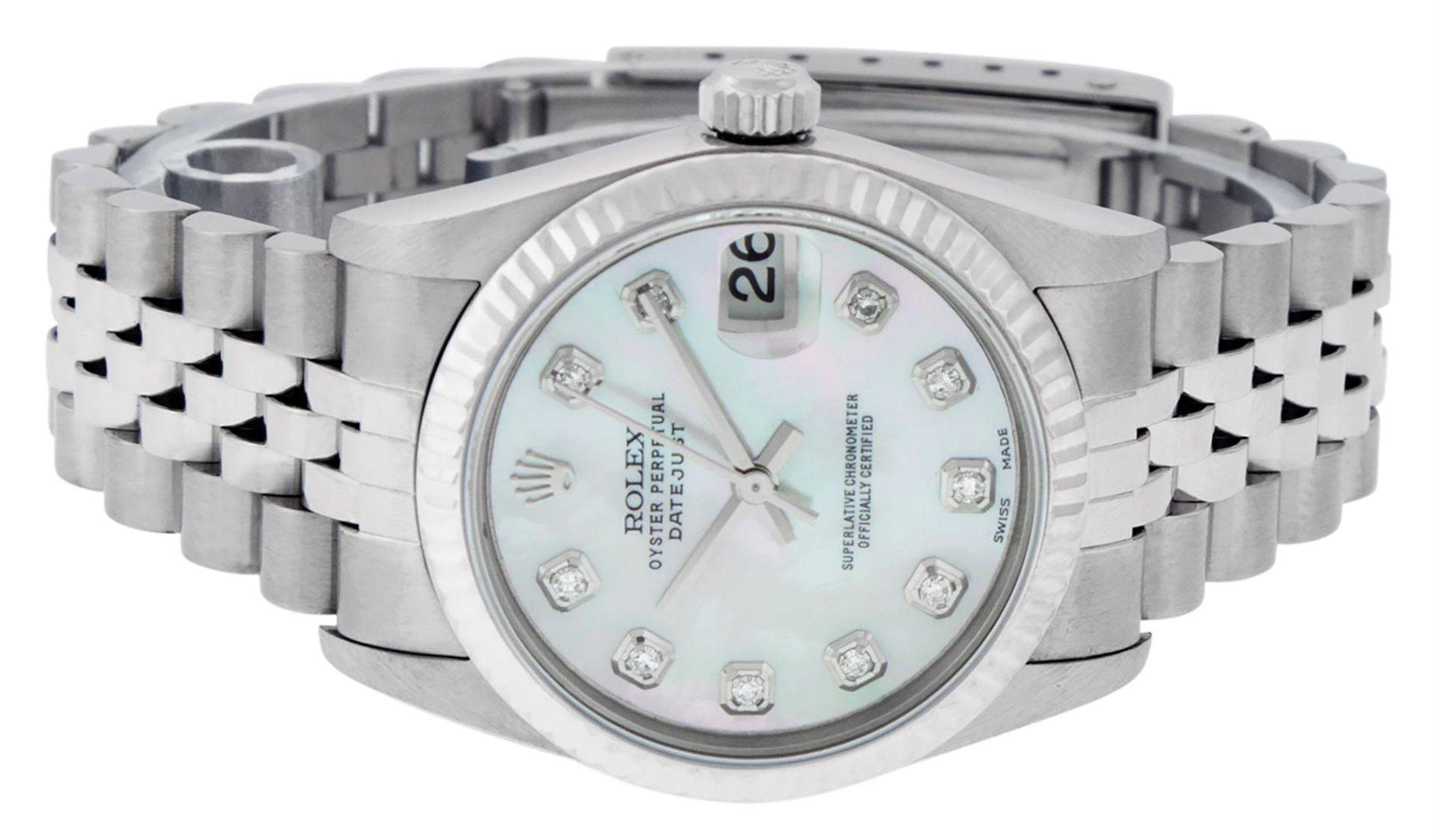 Rolex Womens Midsize Quickset 31mm MOP Diamond Stainless Steel Datejust Wriswatc - Image 3 of 9