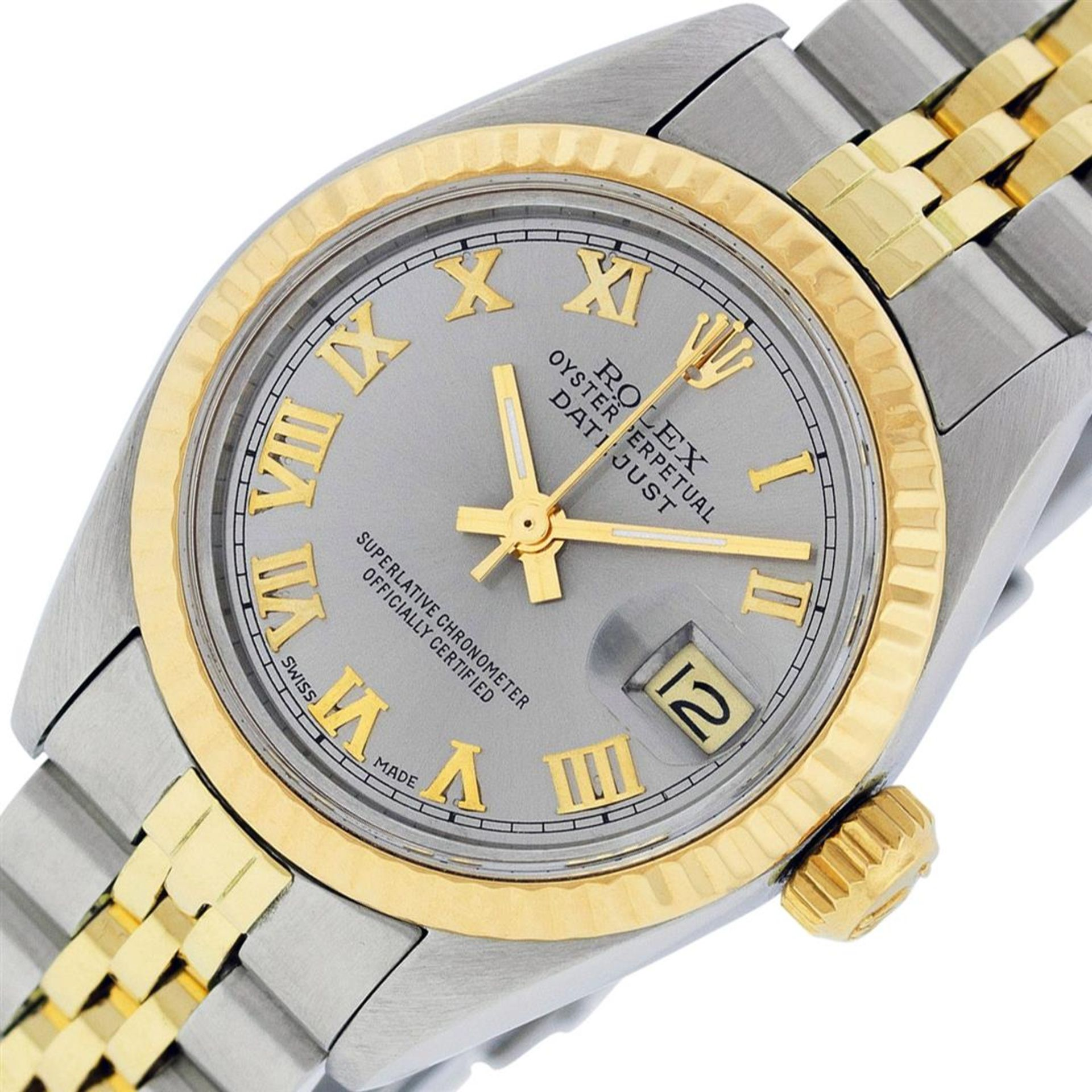 Rolex Ladies 2 Tone Yellow Gold & Stainless Steel Slate Grey Roman Datejust Wris - Image 2 of 9