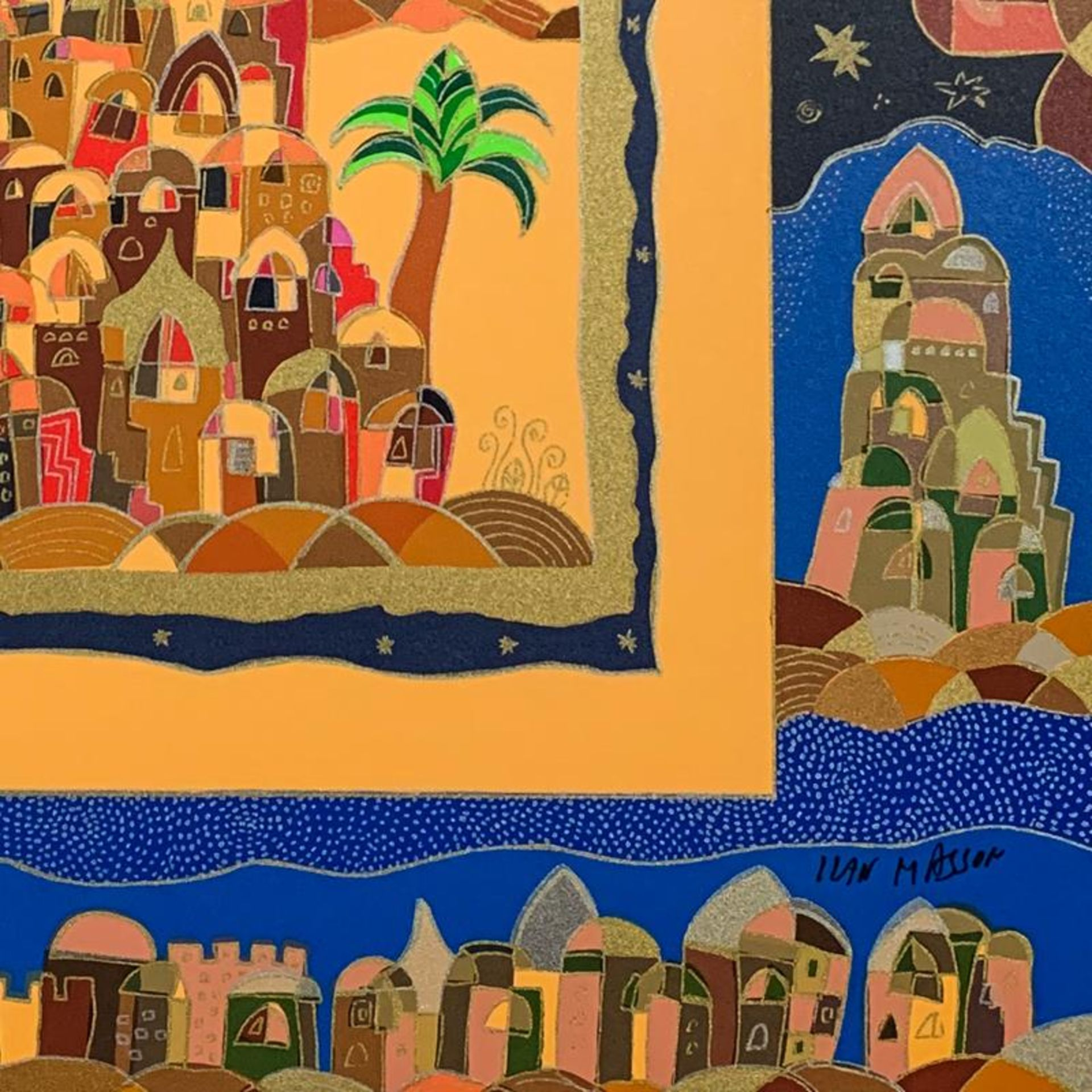 """Ilan Hasson, """"Oasis"""" Hand Signed Limited Edition Serigraph on Paper with Letter - Image 2 of 2"""