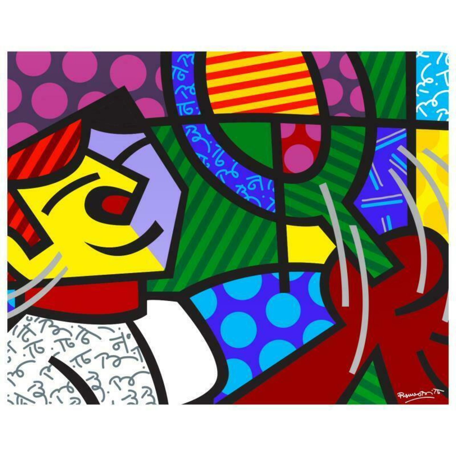 """Romero Britto """"Tennis Match"""" Hand Signed Giclee on Canvas; Authenticated"""