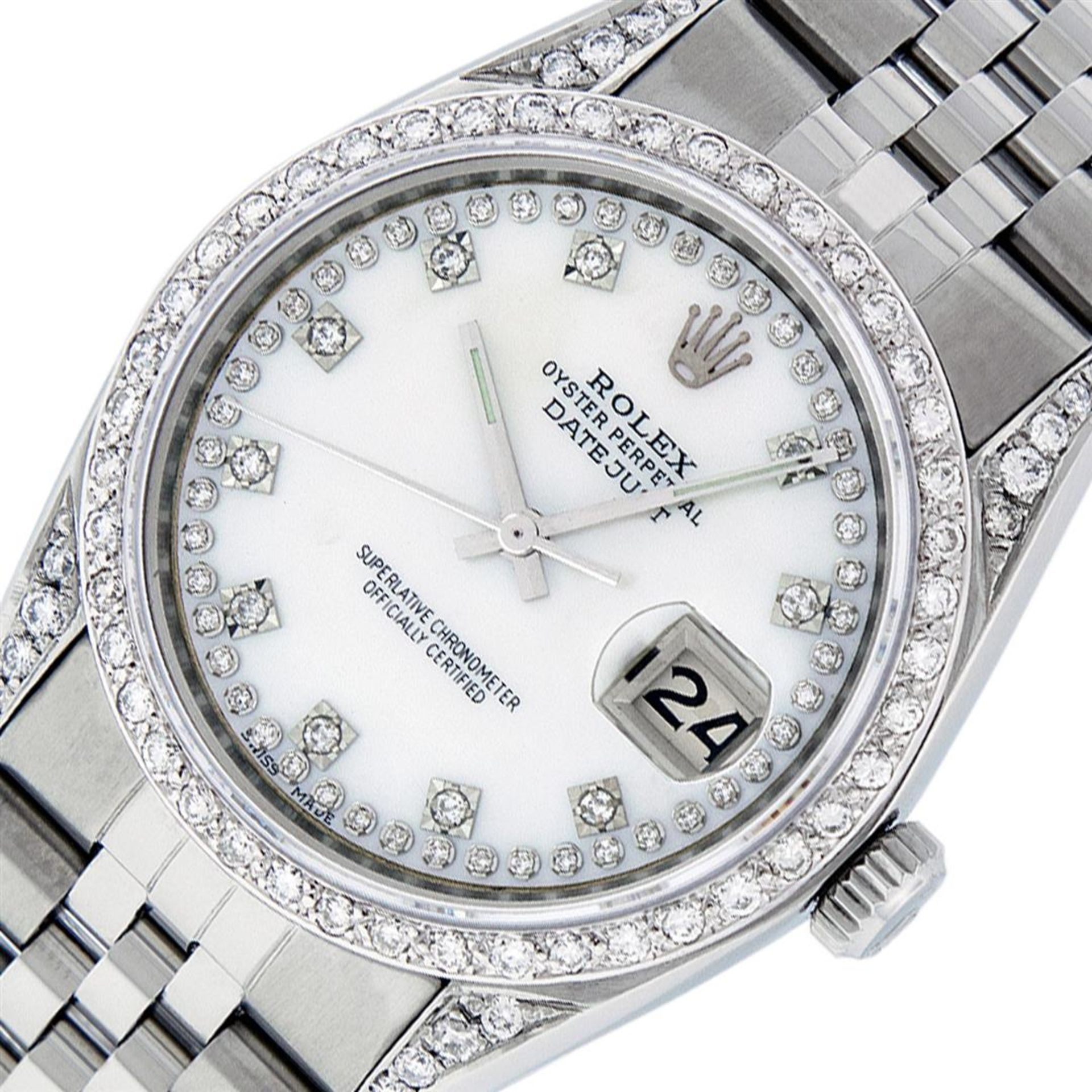 Rolex Mens Stainless Steel Mother Of Pearl Diamond Lugs Datejust Wristwatch - Image 2 of 9