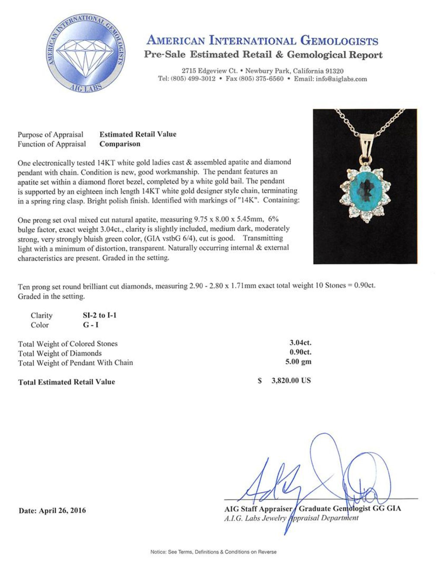 3.04 ctw Apatite and Diamond Pendant With Chain - 14KT White Gold - Image 3 of 3