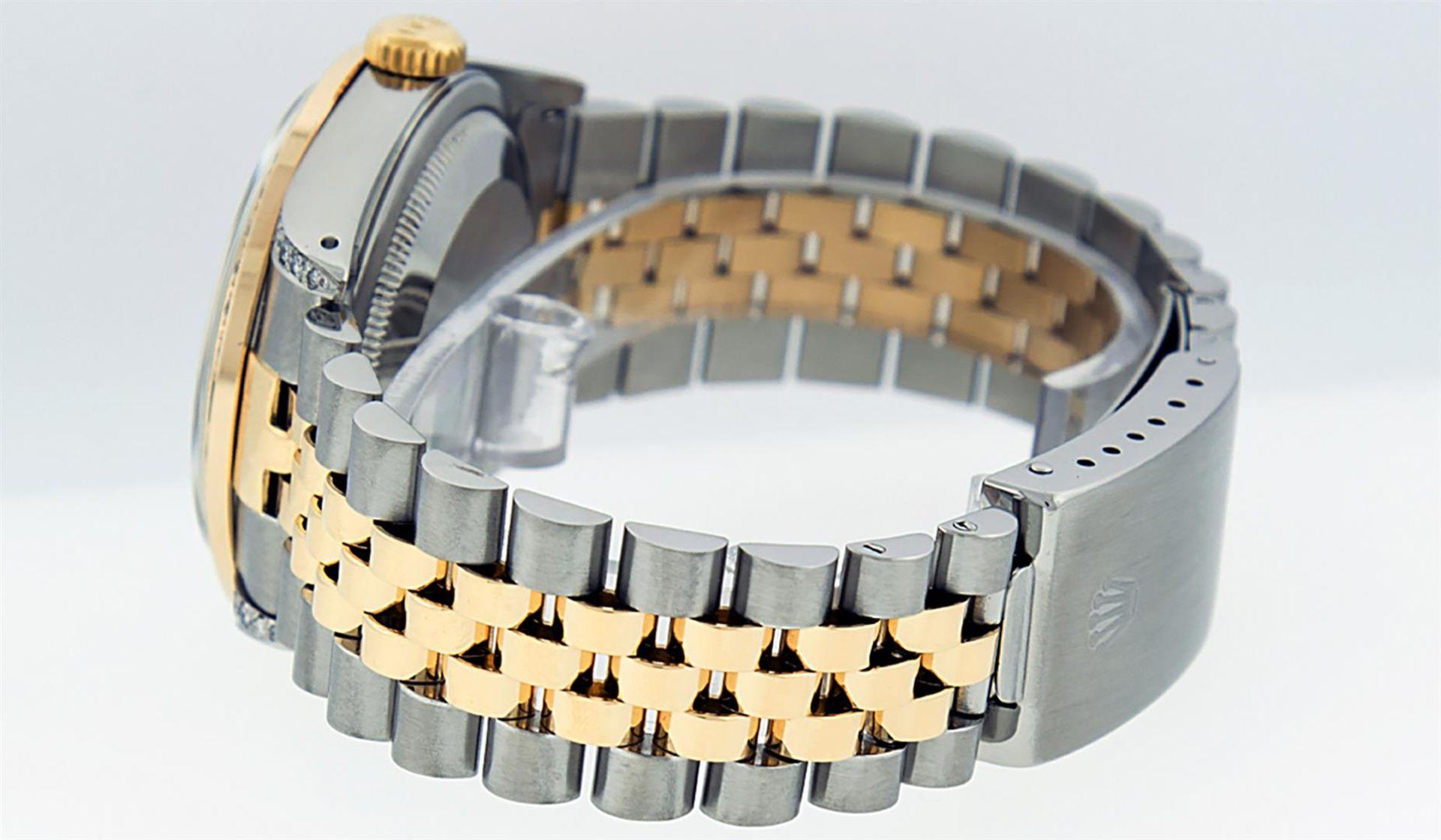 Rolex Mens 2 Tone Blue Vignette String Diamond Lugs Datejust Wristwatch - Image 8 of 8